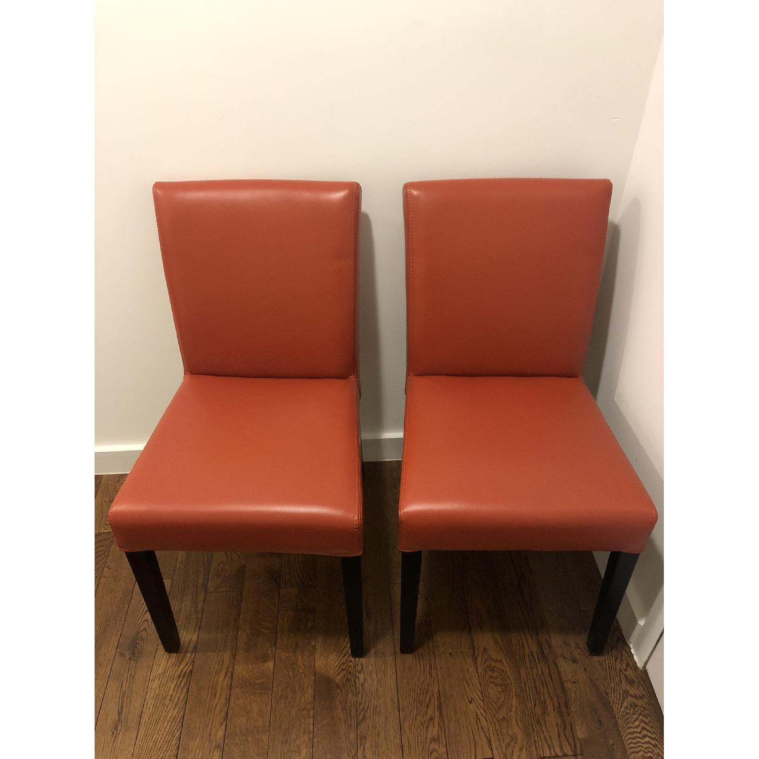 Crate & Barrel Lowe Persimmon Dining Chairs - image-2