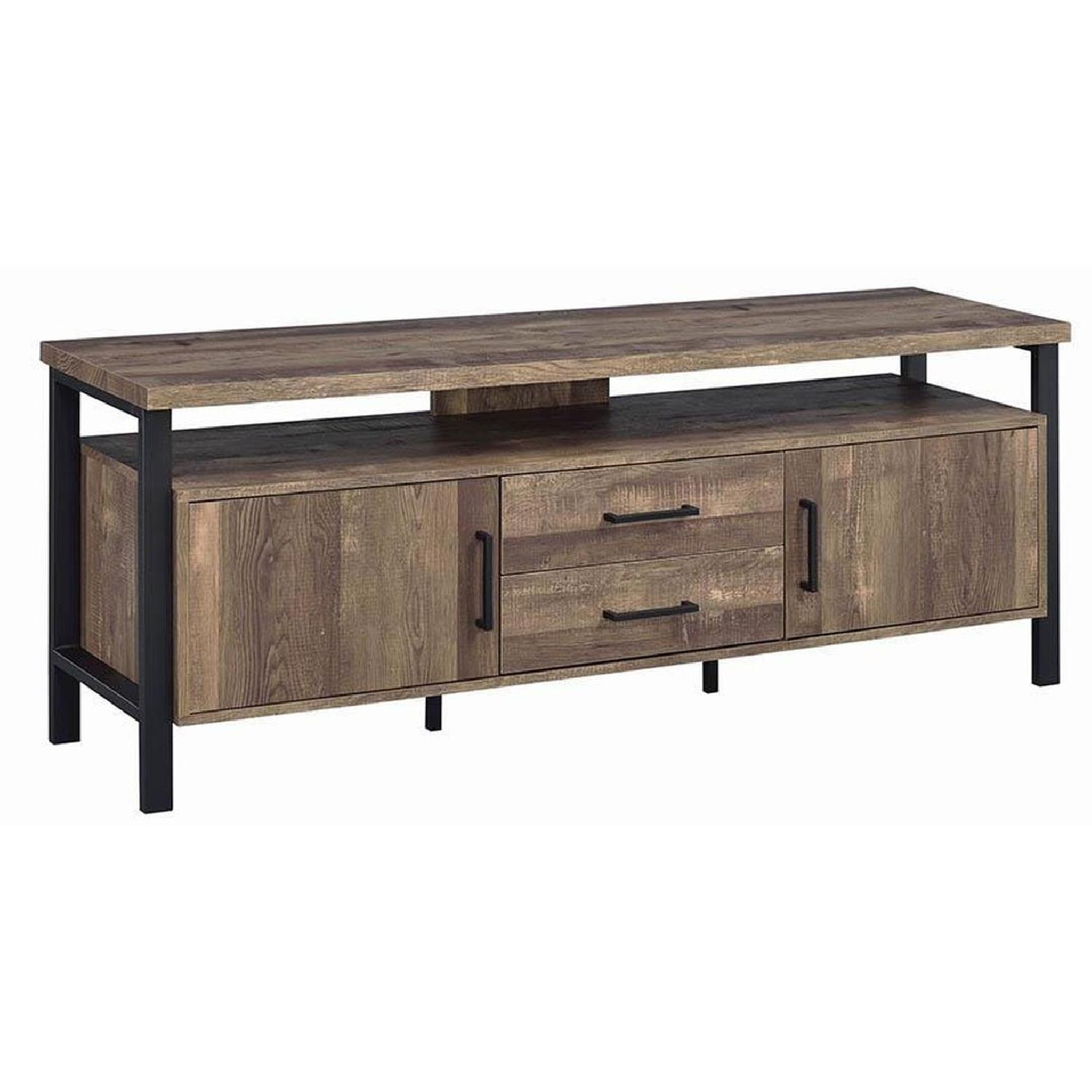 TV Stand In Rustic Oak Finish w/ 2 Cabinets & 2 Drawers - image-0