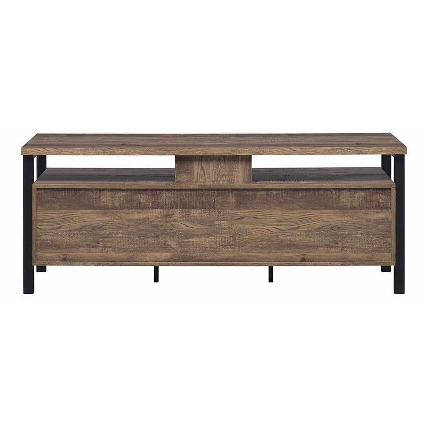 TV Stand In Rustic Oak Finish w/ 2 Cabinets & 2 Drawers - image-4