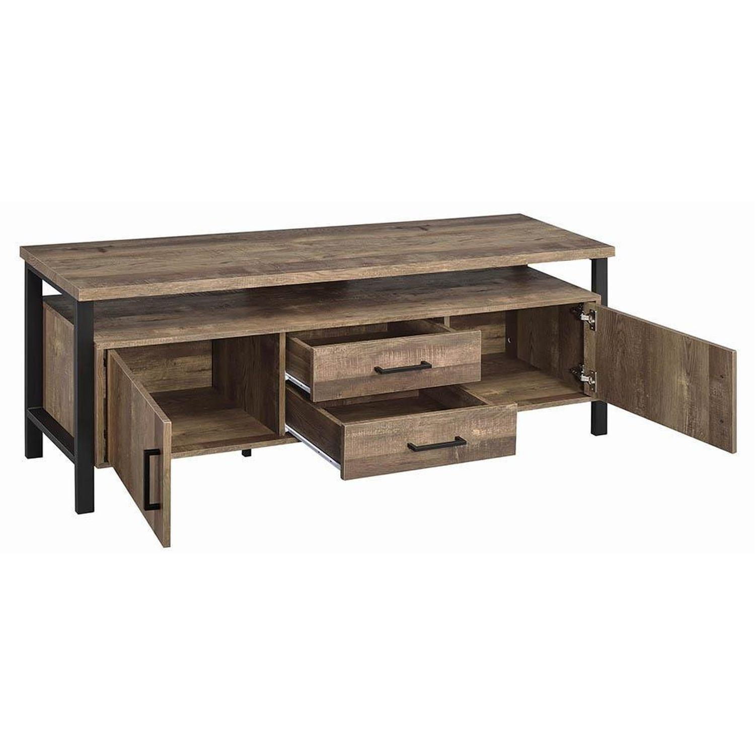 TV Stand In Rustic Oak Finish w/ 2 Cabinets & 2 Drawers - image-1