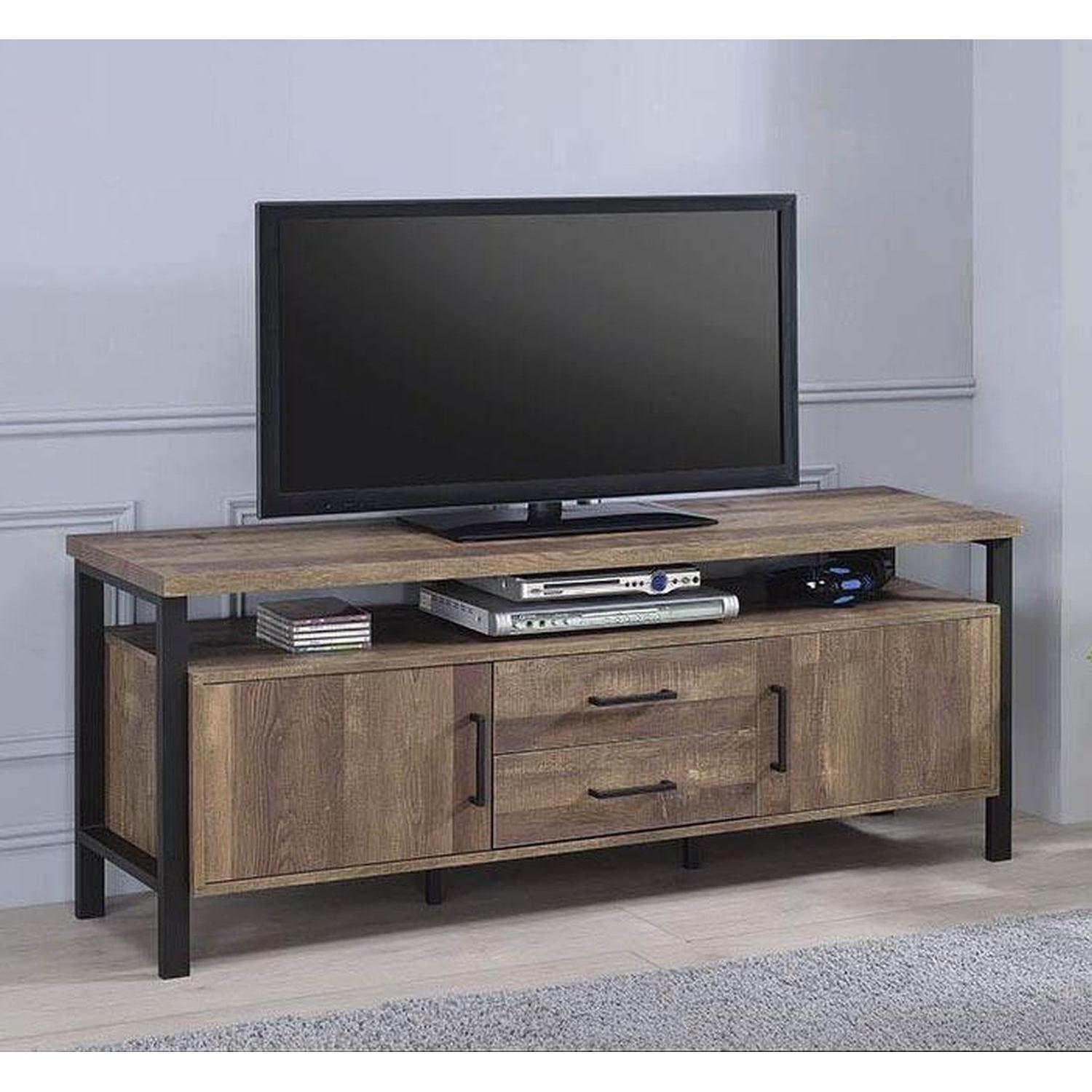 TV Stand In Rustic Oak Finish w/ 2 Cabinets & 2 Drawers - image-7