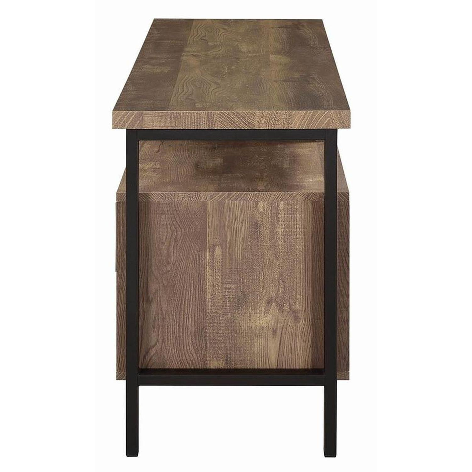TV Stand In Rustic Oak Finish w/ 2 Cabinets & 2 Drawers - image-6