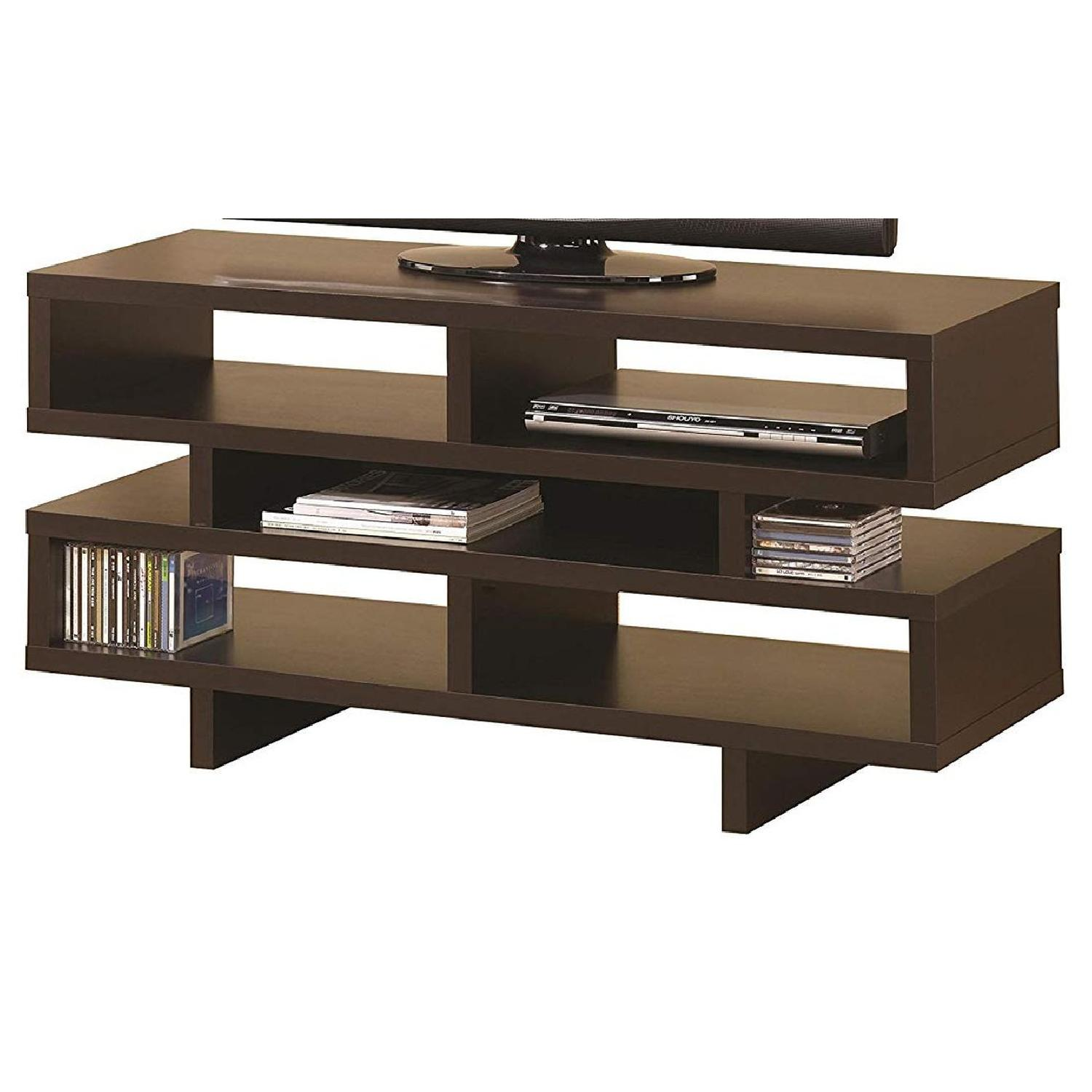 TV Stand In Rustic Oak Finish w/ 2 Cabinets & 2 Drawers - image-9