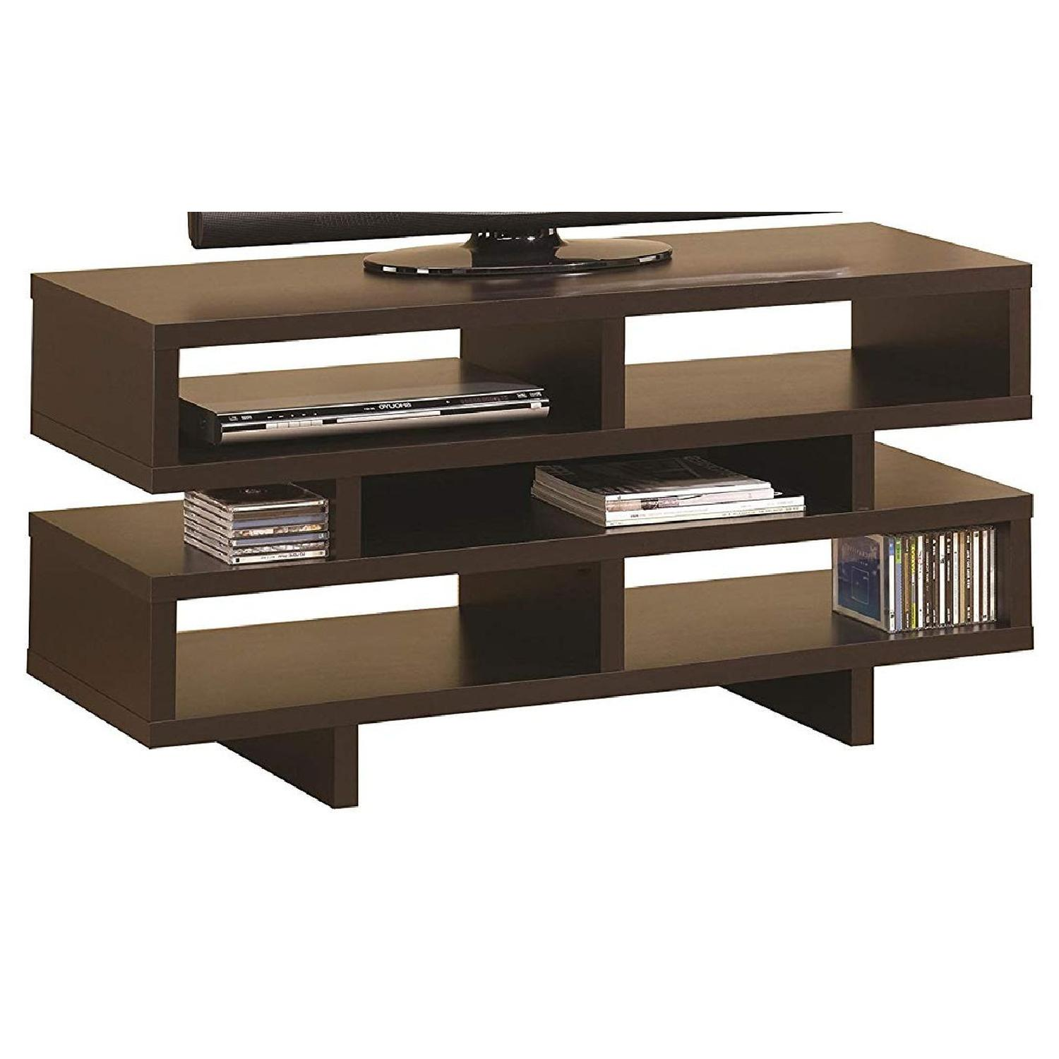 TV Stand In Rustic Oak Finish w/ 2 Cabinets & 2 Drawers - image-10