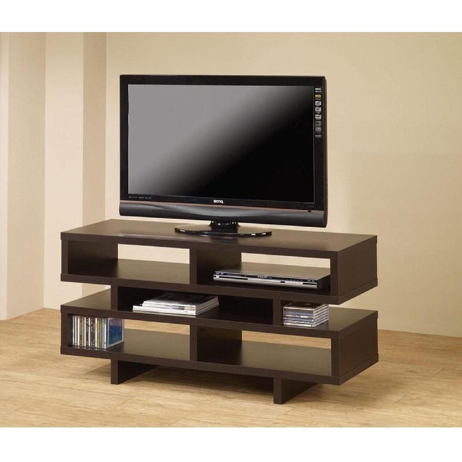 TV Stand In Rustic Oak Finish w/ 2 Cabinets & 2 Drawers - image-8