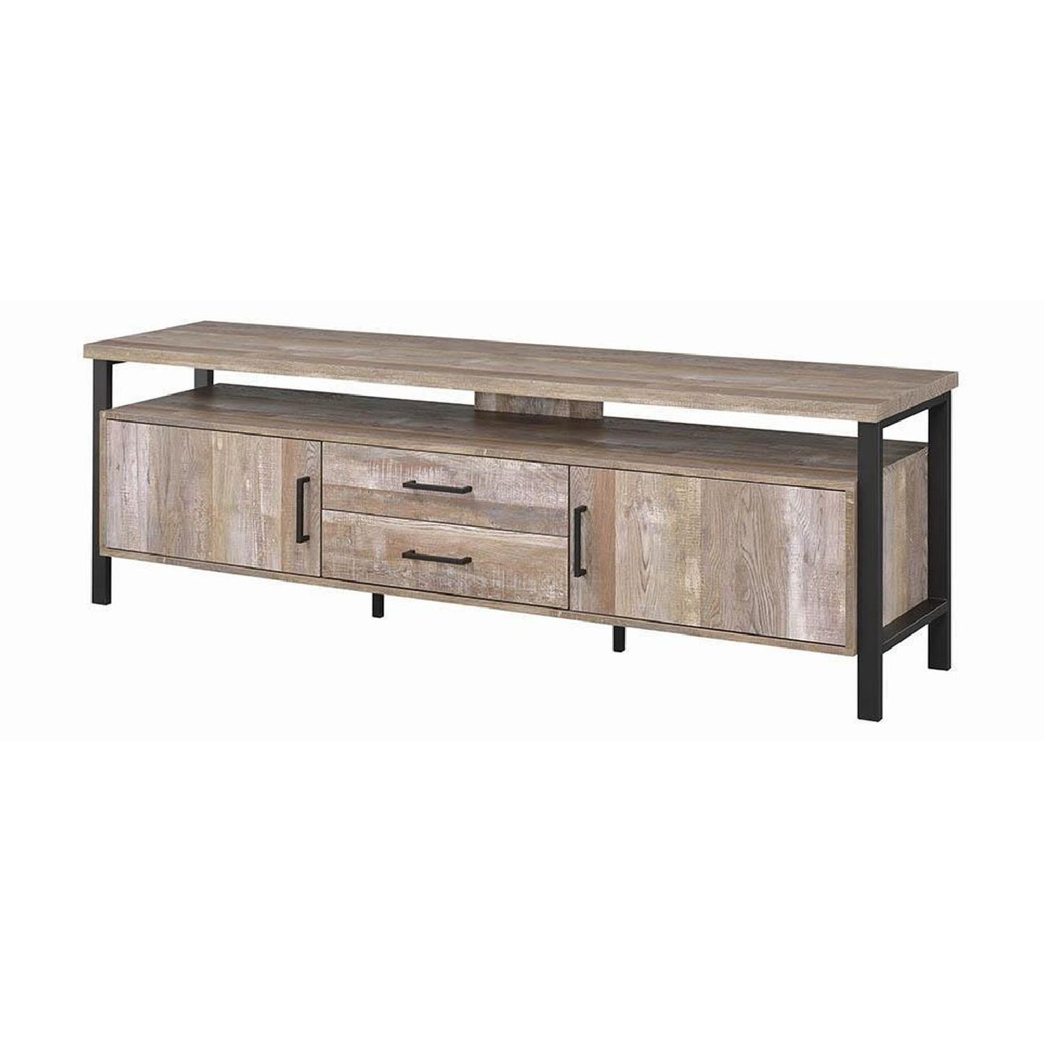 TV Stand In Rustic Oak Finish w/ 2 Cabinets & 2 Drawers - image-14