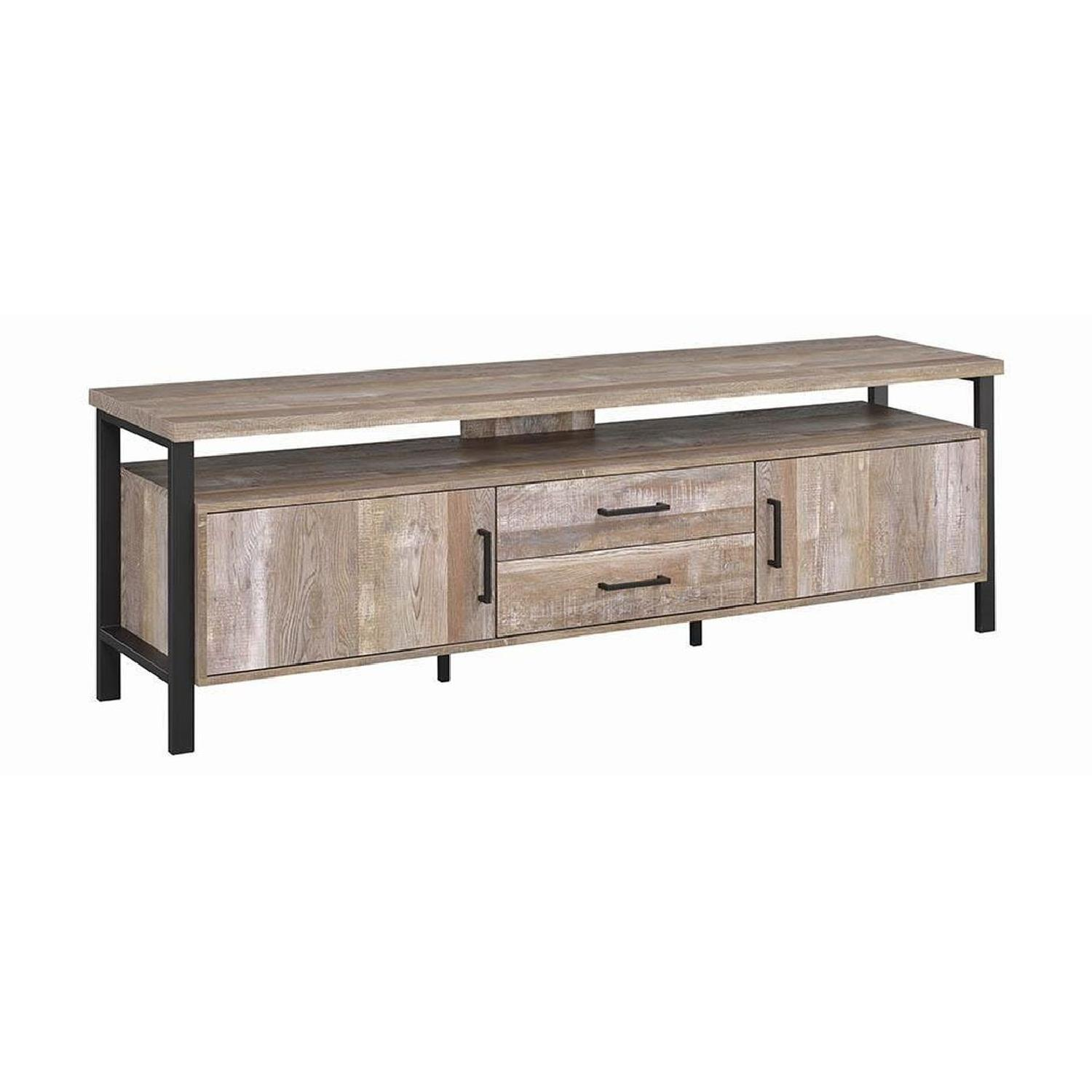 TV Stand In Rustic Oak Finish w/ 2 Cabinets & 2 Drawers - image-16