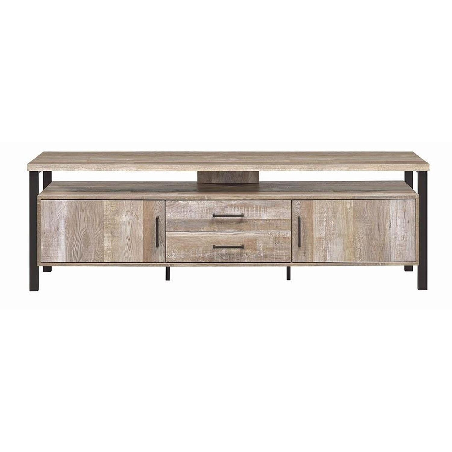 TV Stand In Rustic Oak Finish w/ 2 Cabinets & 2 Drawers - image-15