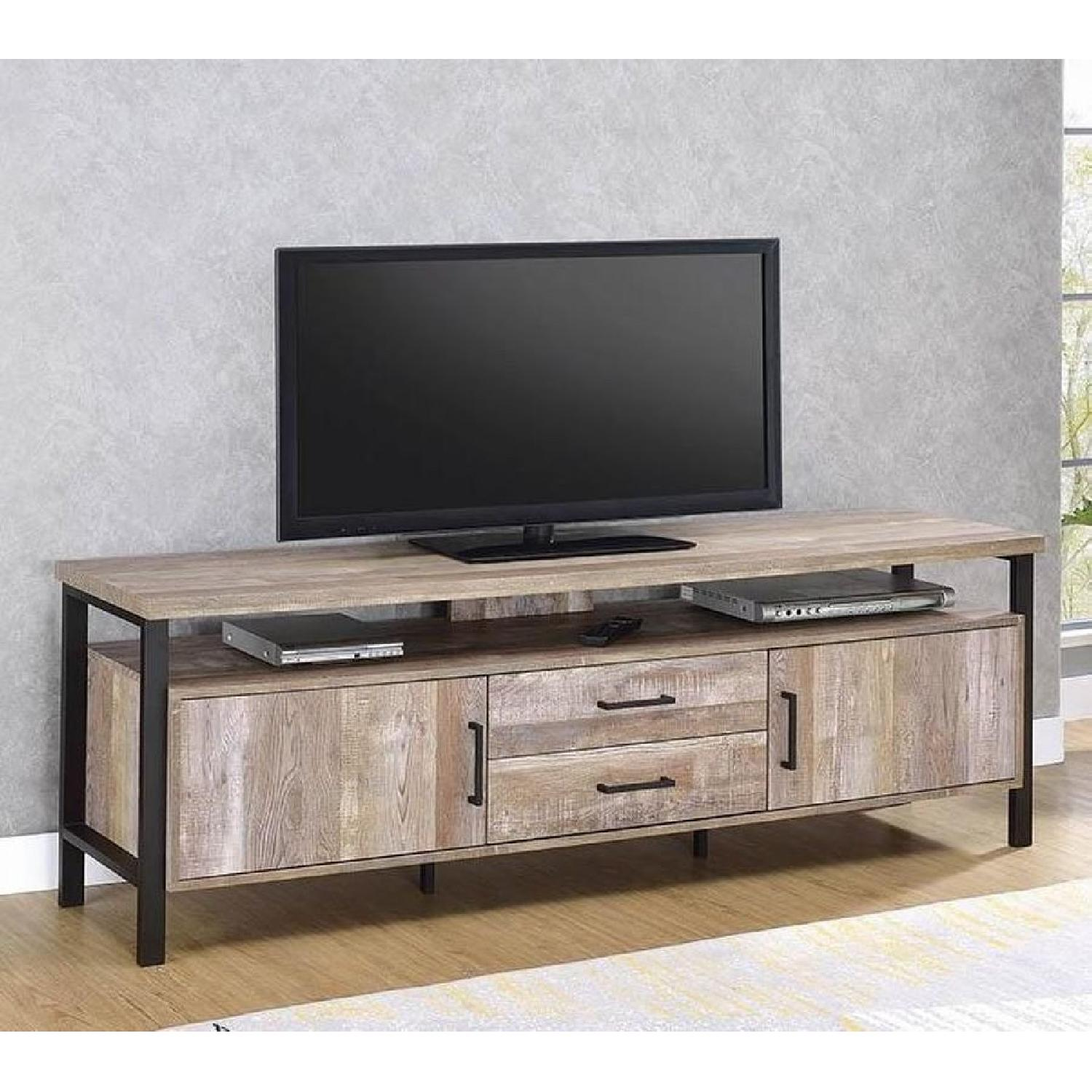 TV Stand In Rustic Oak Finish w/ 2 Cabinets & 2 Drawers - image-18