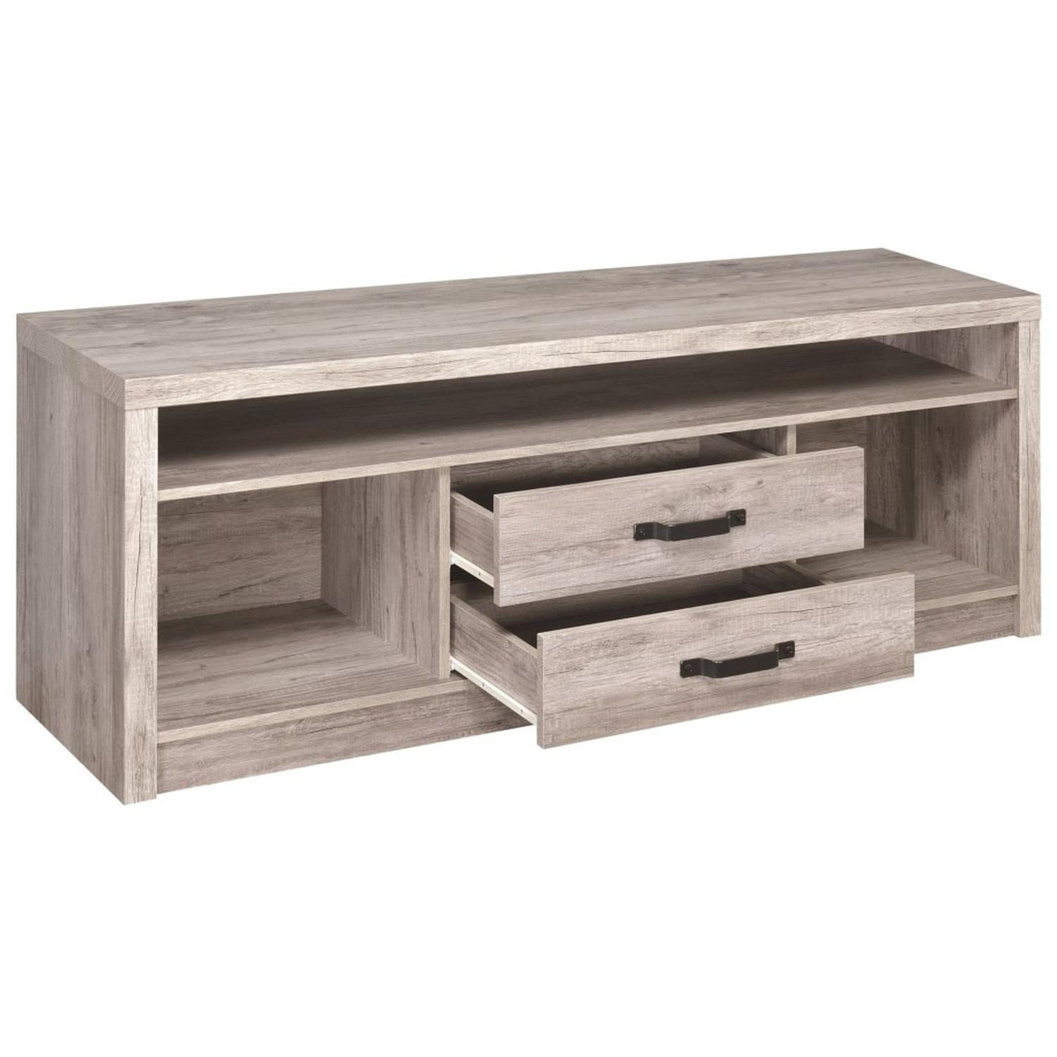 TV Stand In Rustic Oak Finish w/ 2 Cabinets & 2 Drawers - image-24