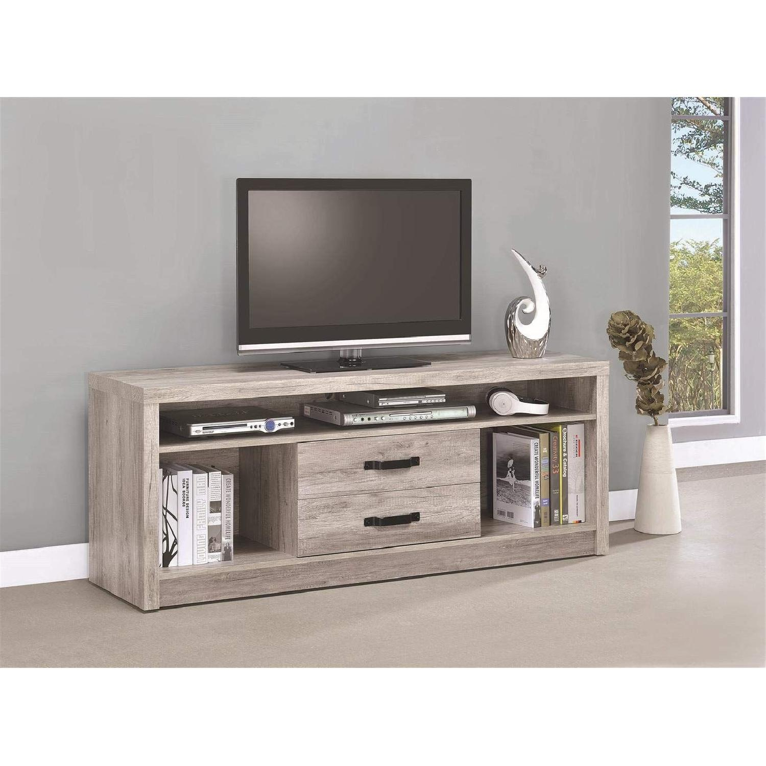 TV Stand In Rustic Oak Finish w/ 2 Cabinets & 2 Drawers - image-21
