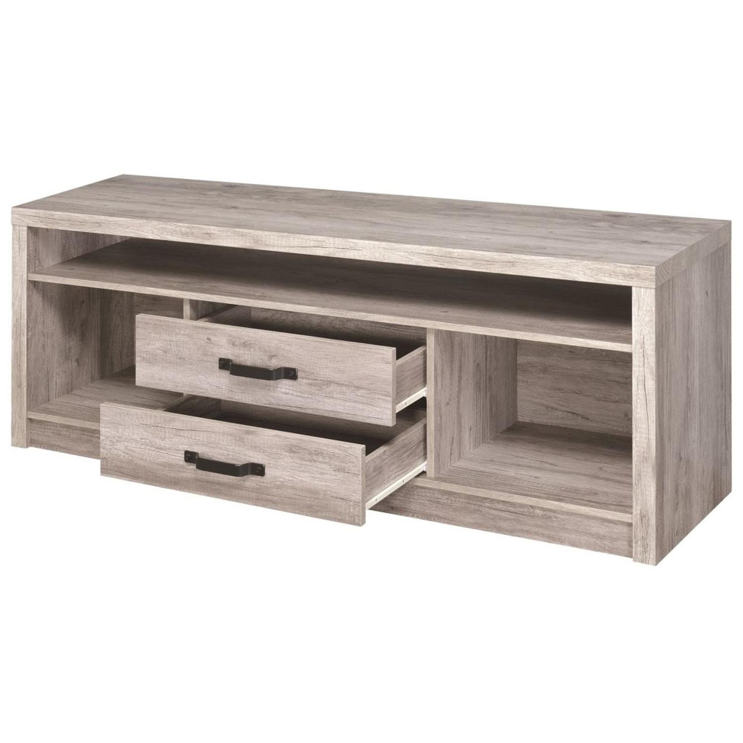 TV Stand In Rustic Oak Finish w/ 2 Cabinets & 2 Drawers - image-25