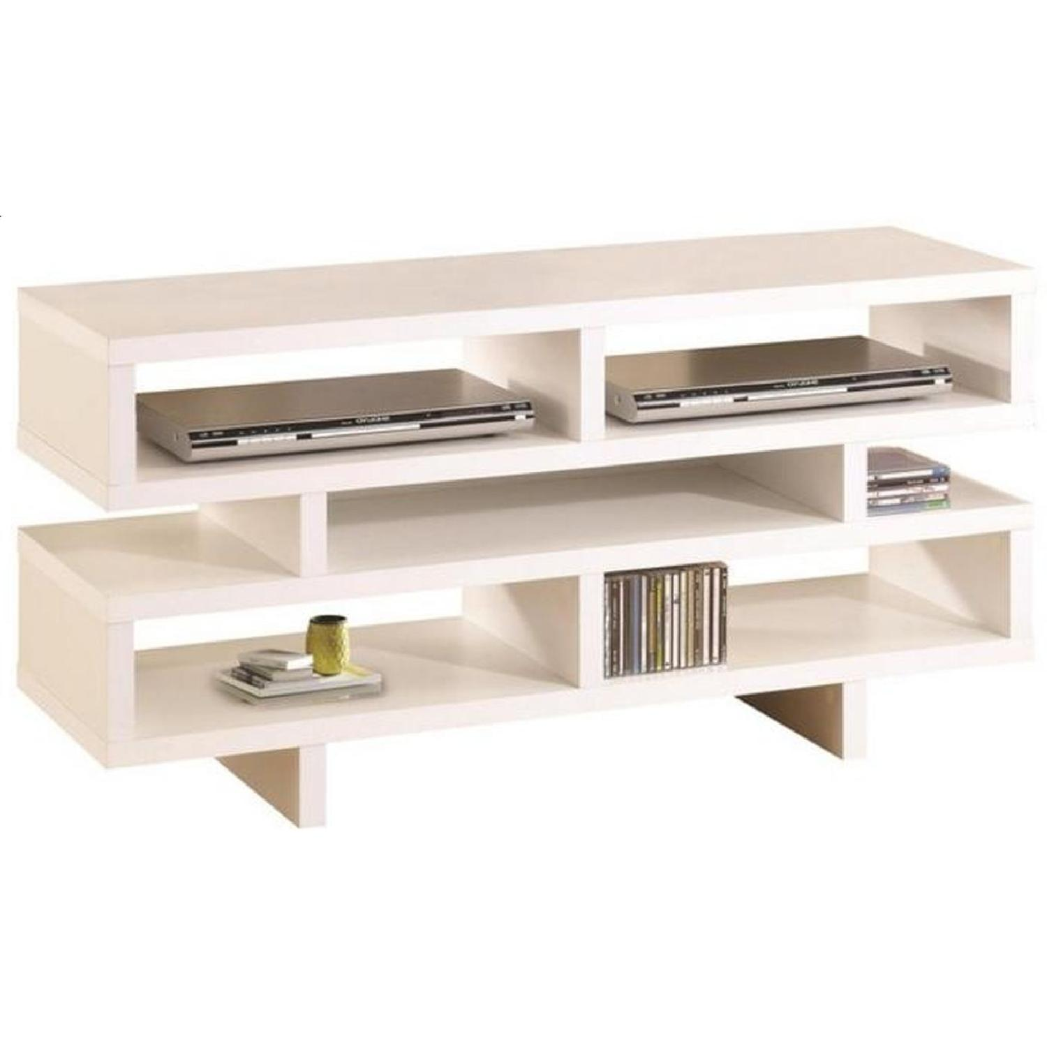 Modern TV Console in White Finish w/ Open Shelf Design - image-0