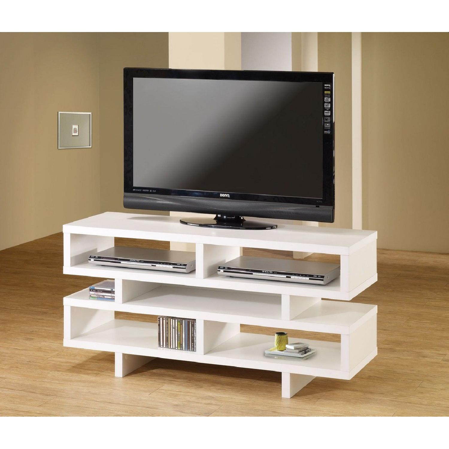 Modern TV Console in White Finish w/ Open Shelf Design - image-2