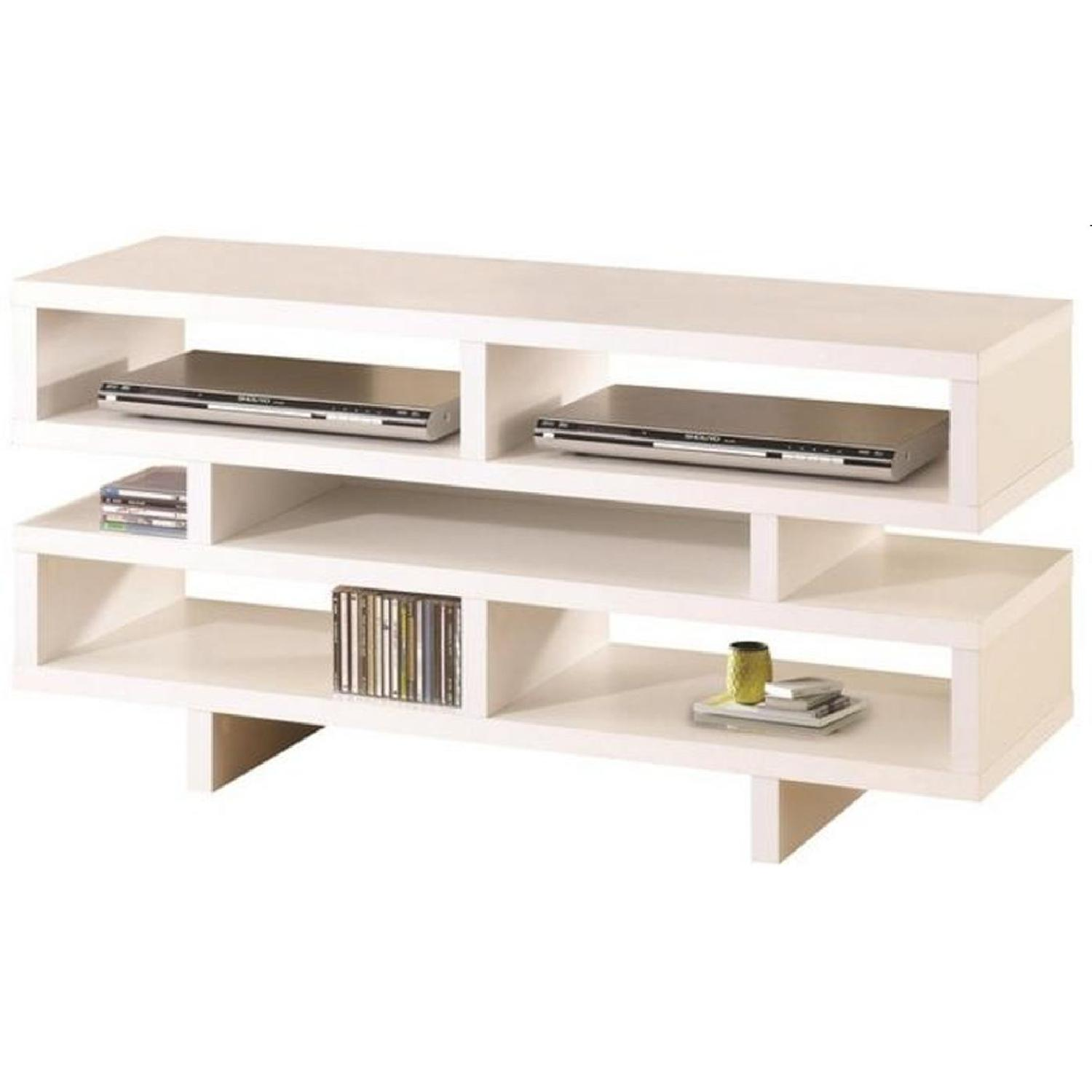 Modern TV Console in White Finish w/ Open Shelf Design - image-1