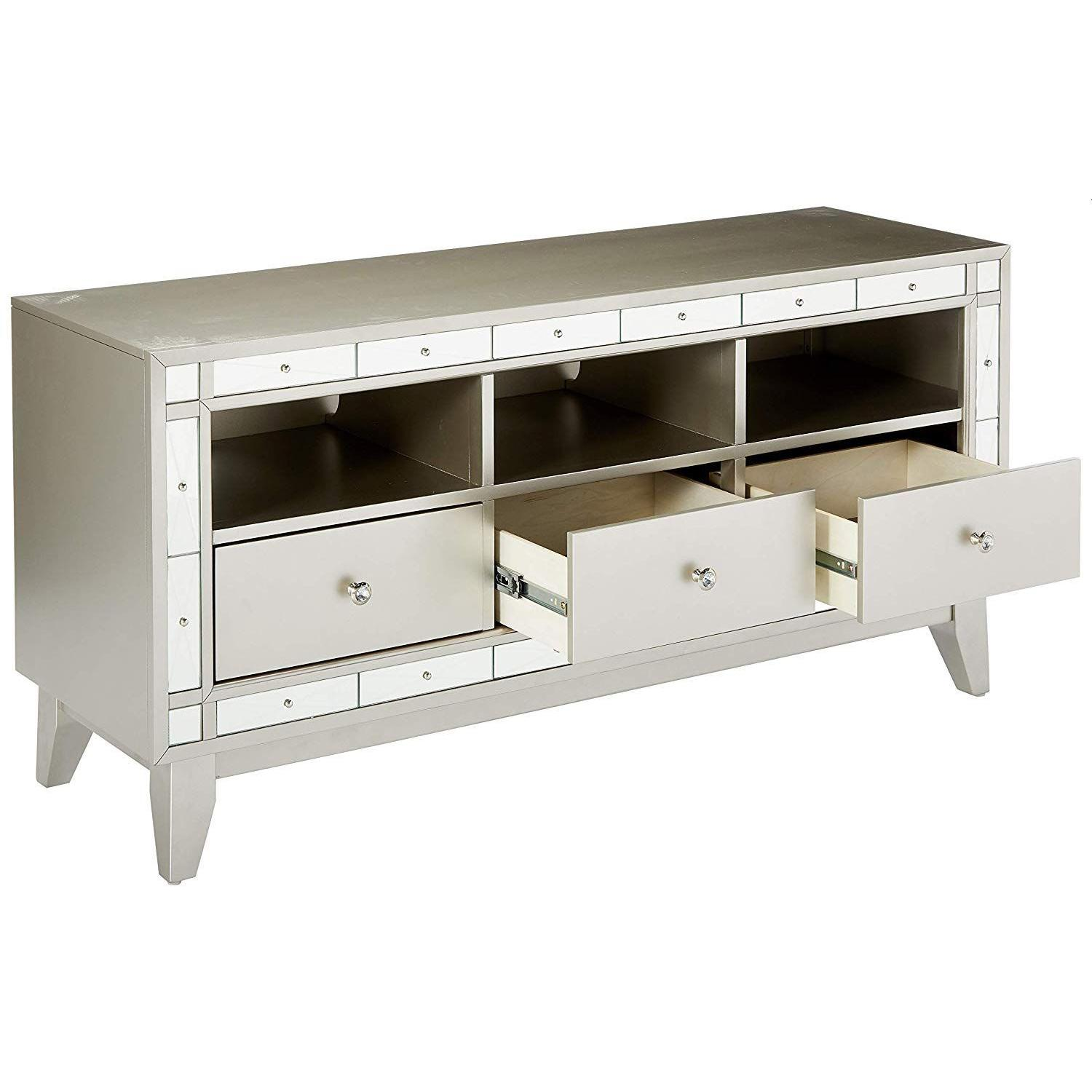 Glam Style TV Console w/ Mirror Accent - image-2