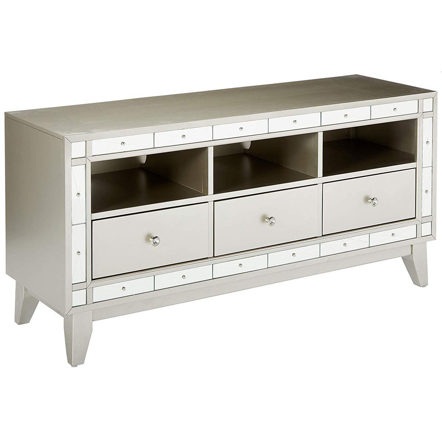 Glam Style TV Console w/ Mirror Accent - image-0