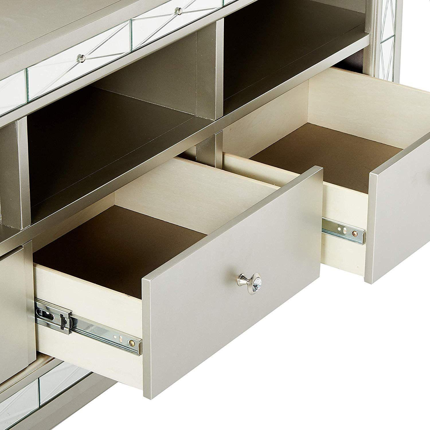 Glam Style TV Console w/ Mirror Accent - image-4