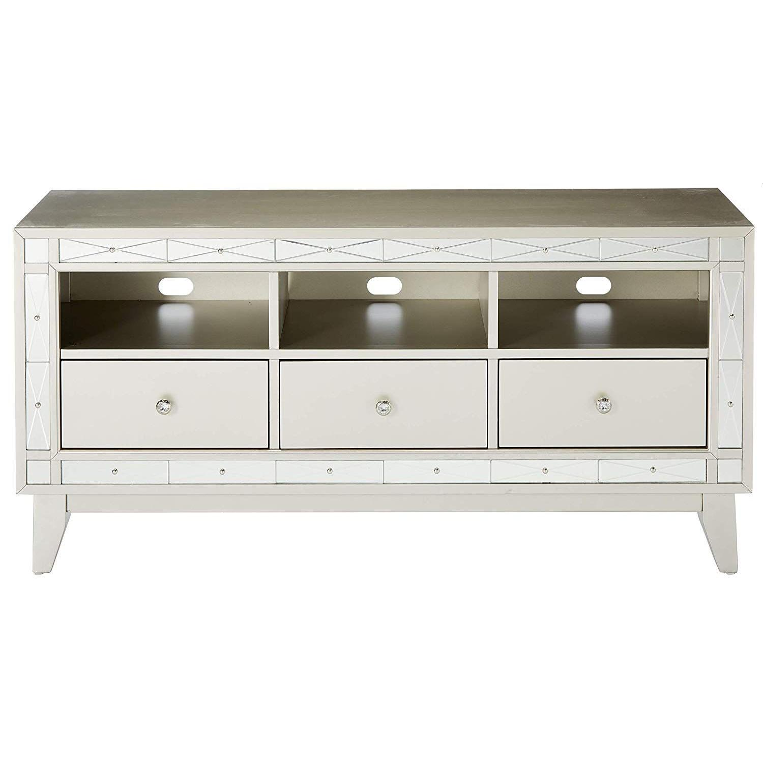 Glam Style TV Console w/ Mirror Accent - image-1