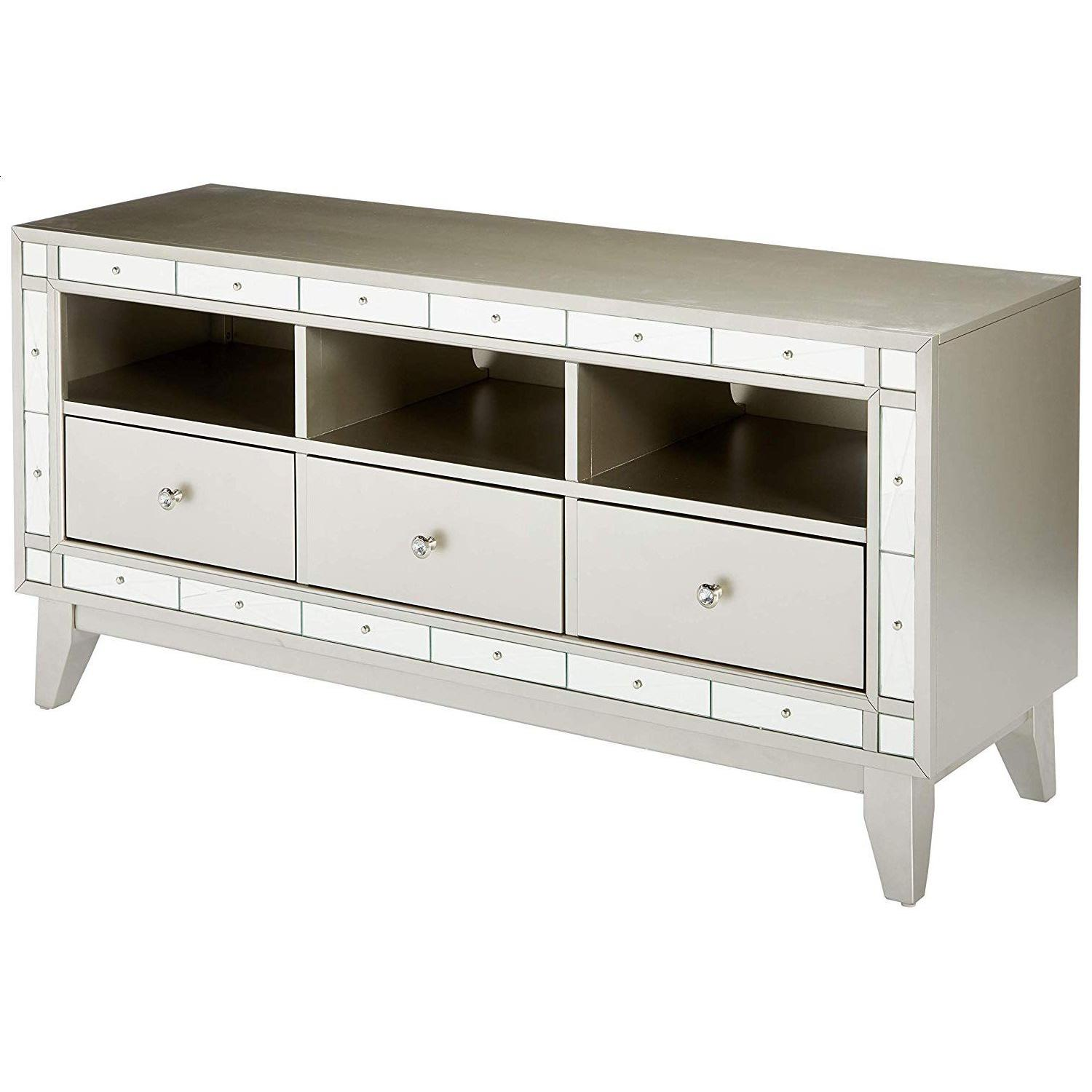 Glam Style TV Console w/ Mirror Accent - image-3
