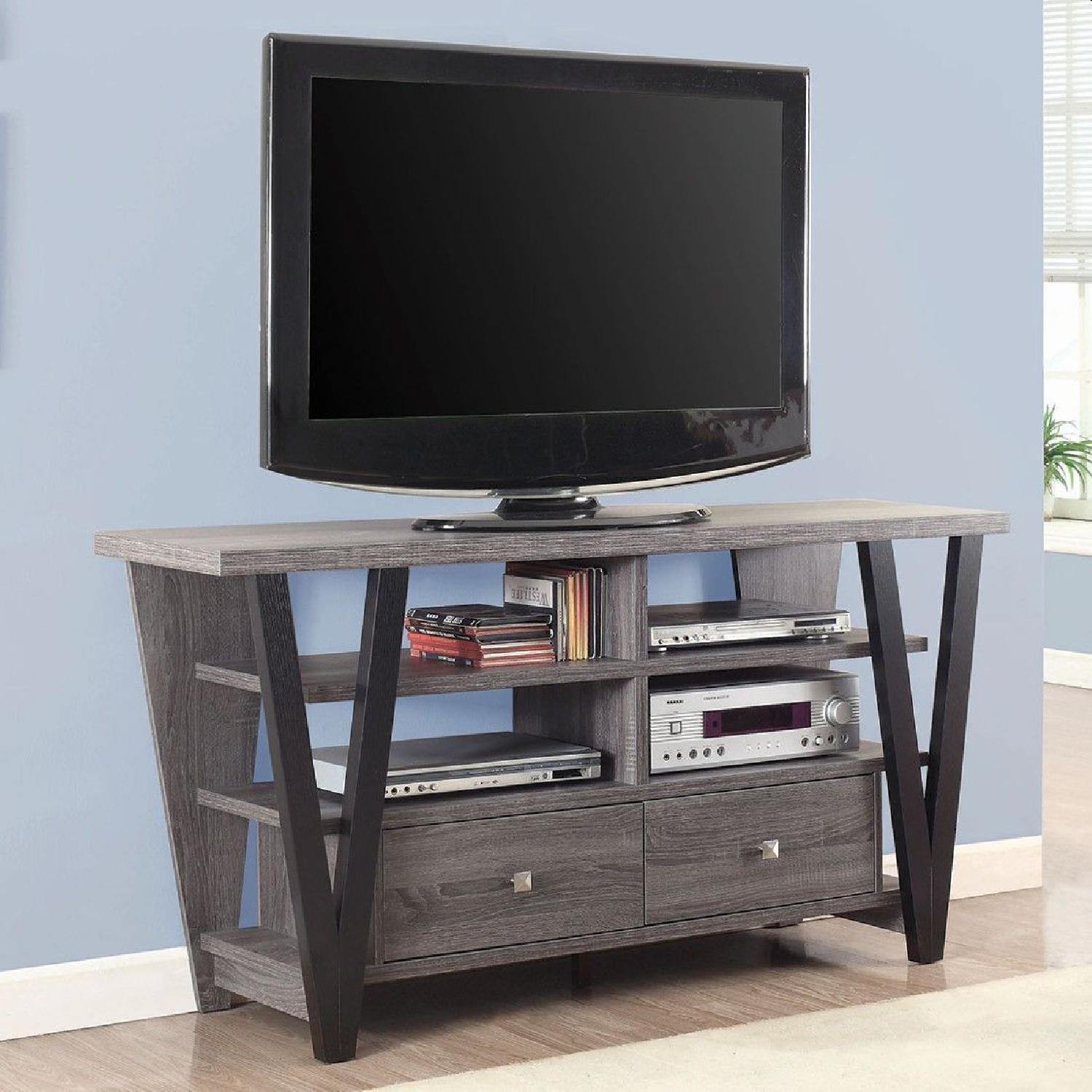 Modern TV Stand in Grey-Black Finish w/ Shelves & Drawers - image-2