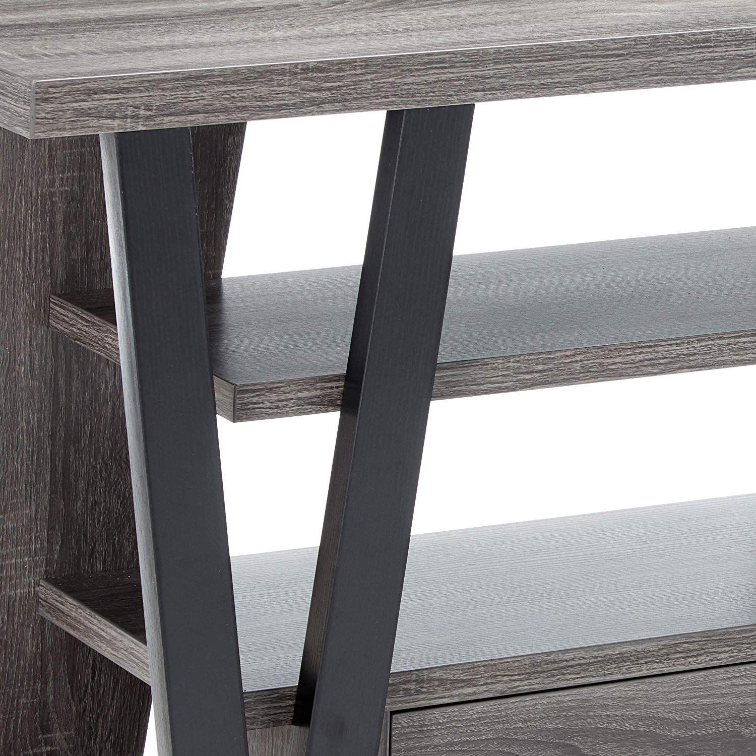 Modern TV Stand in Grey-Black Finish w/ Shelves & Drawers - image-5