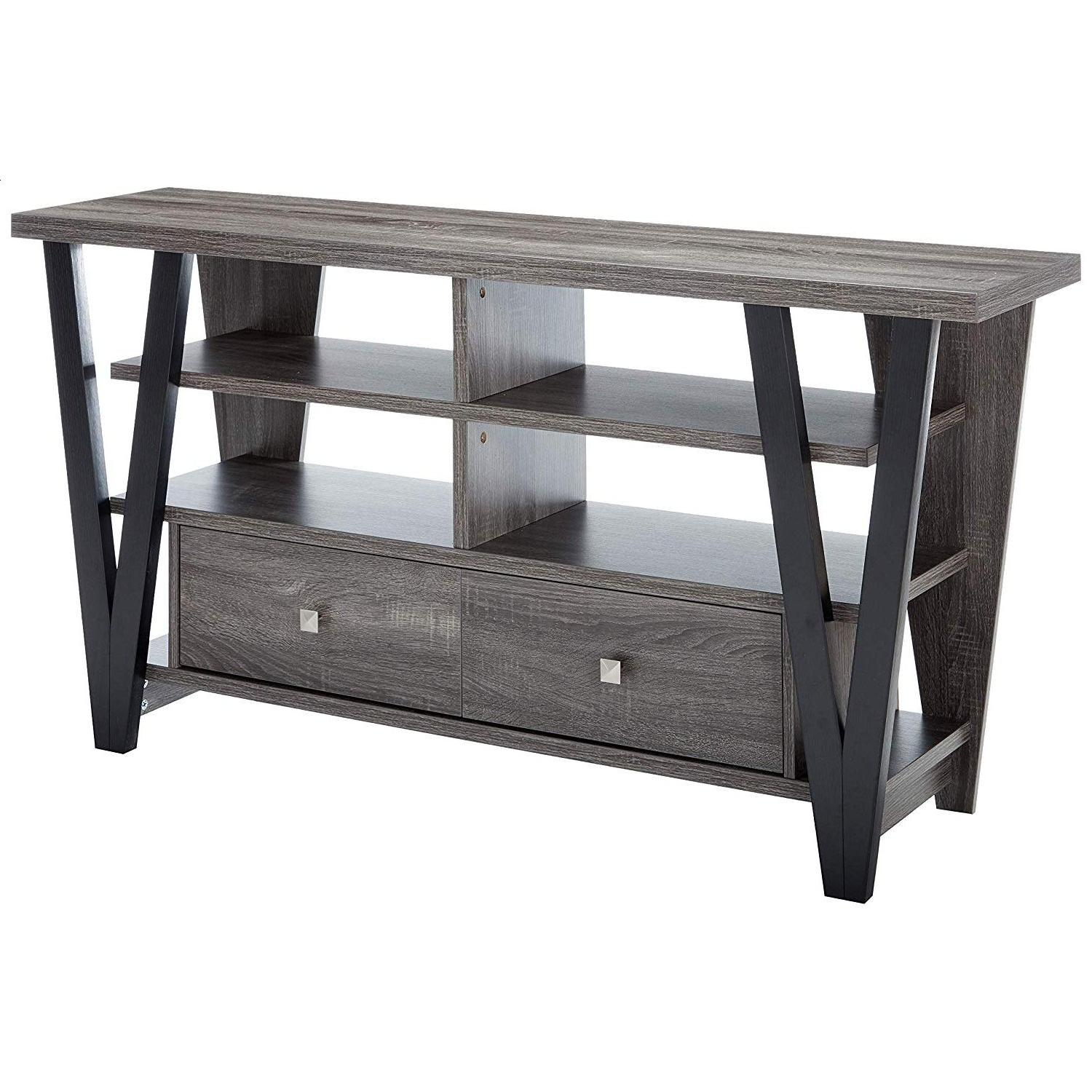 Modern TV Stand in Grey-Black Finish w/ Shelves & Drawers - image-3