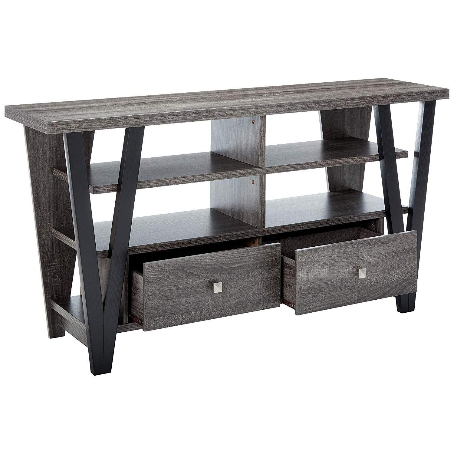 Modern TV Stand in Grey-Black Finish w/ Shelves & Drawers - image-0