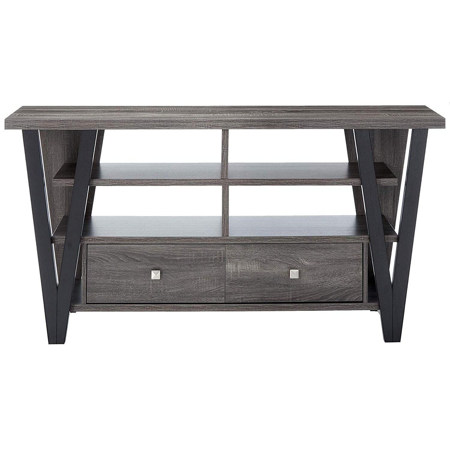 Modern TV Stand in Grey-Black Finish w/ Shelves & Drawers - image-1