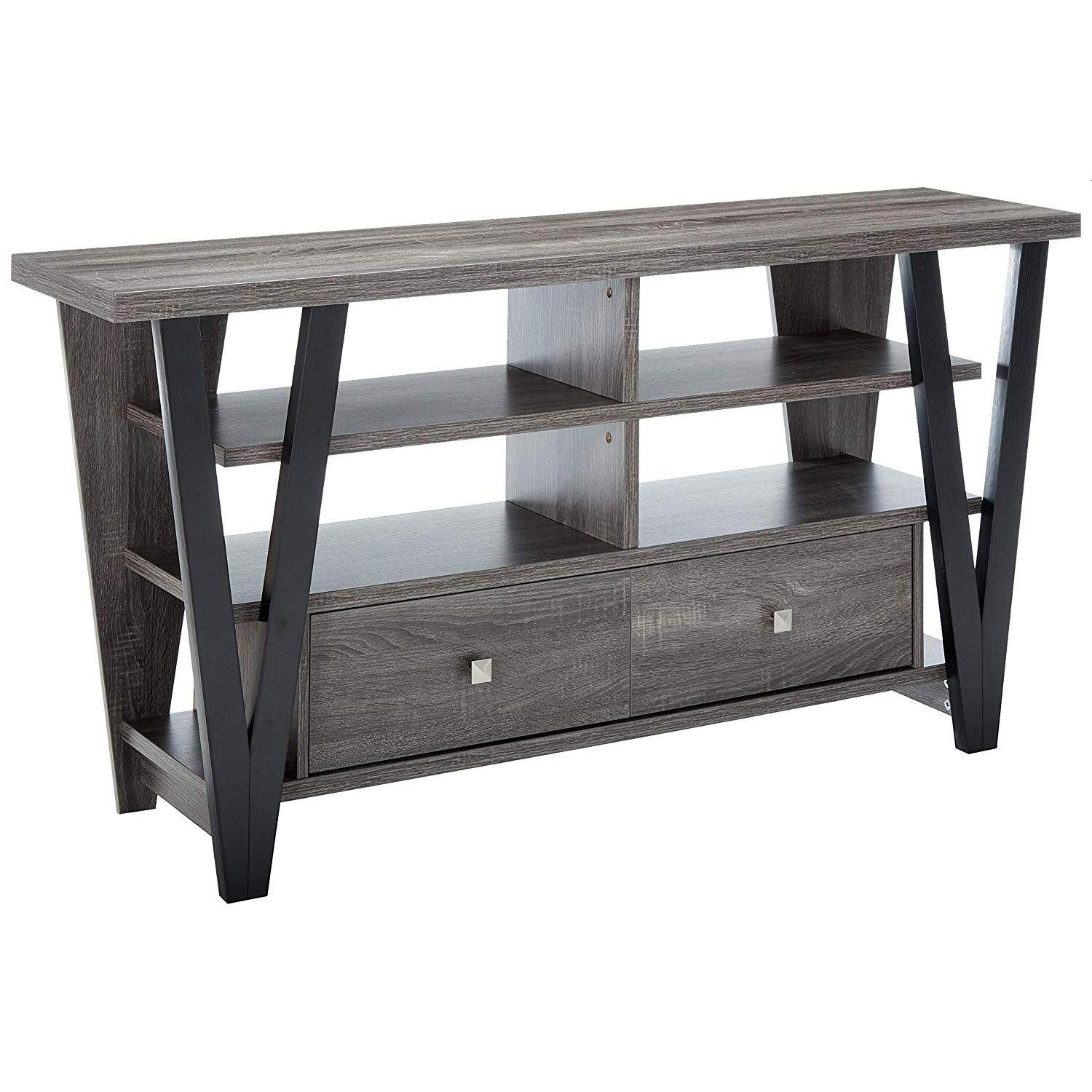 Modern TV Stand in Grey-Black Finish w/ Shelves & Drawers - image-4