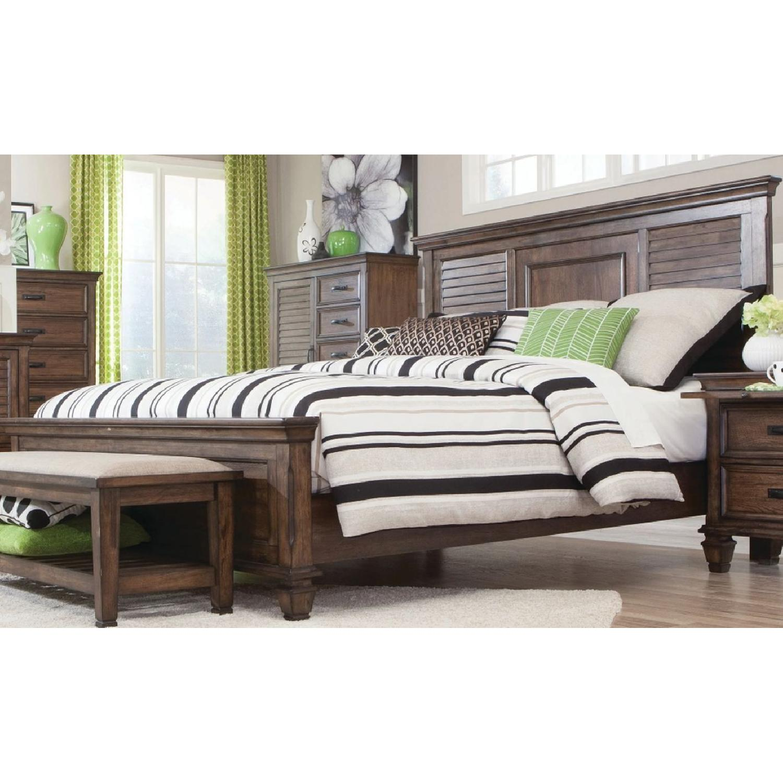 Craftsman Style King Size Bed in Burnished Oak Finish - image-1