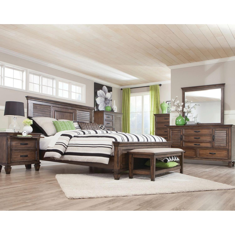Craftsman Style King Size Bed in Burnished Oak Finish - image-3