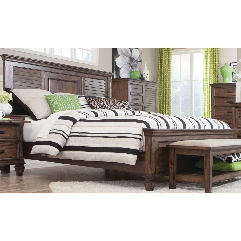 Craftsman Style King Size Bed in Burnished Oak Finish - image-2