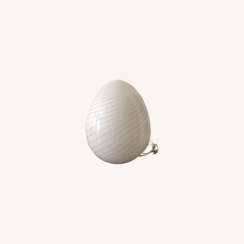 Vintage Murano Glass Egg Lamp w/ Cream Swirl