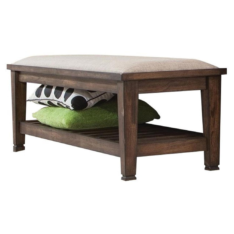 Craftsman Style Bench in Burnished Oak Finish w/ Padded Seat - image-1