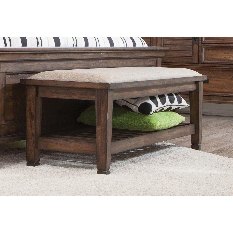 Craftsman Style Bench in Burnished Oak Finish w/ Padded Seat - image-3