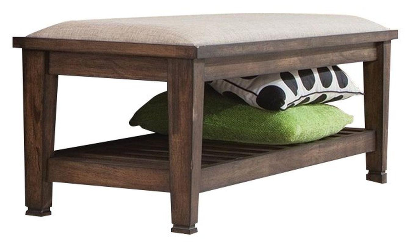 Craftsman Style Bench in Burnished Oak Finish w/ Padded Seat