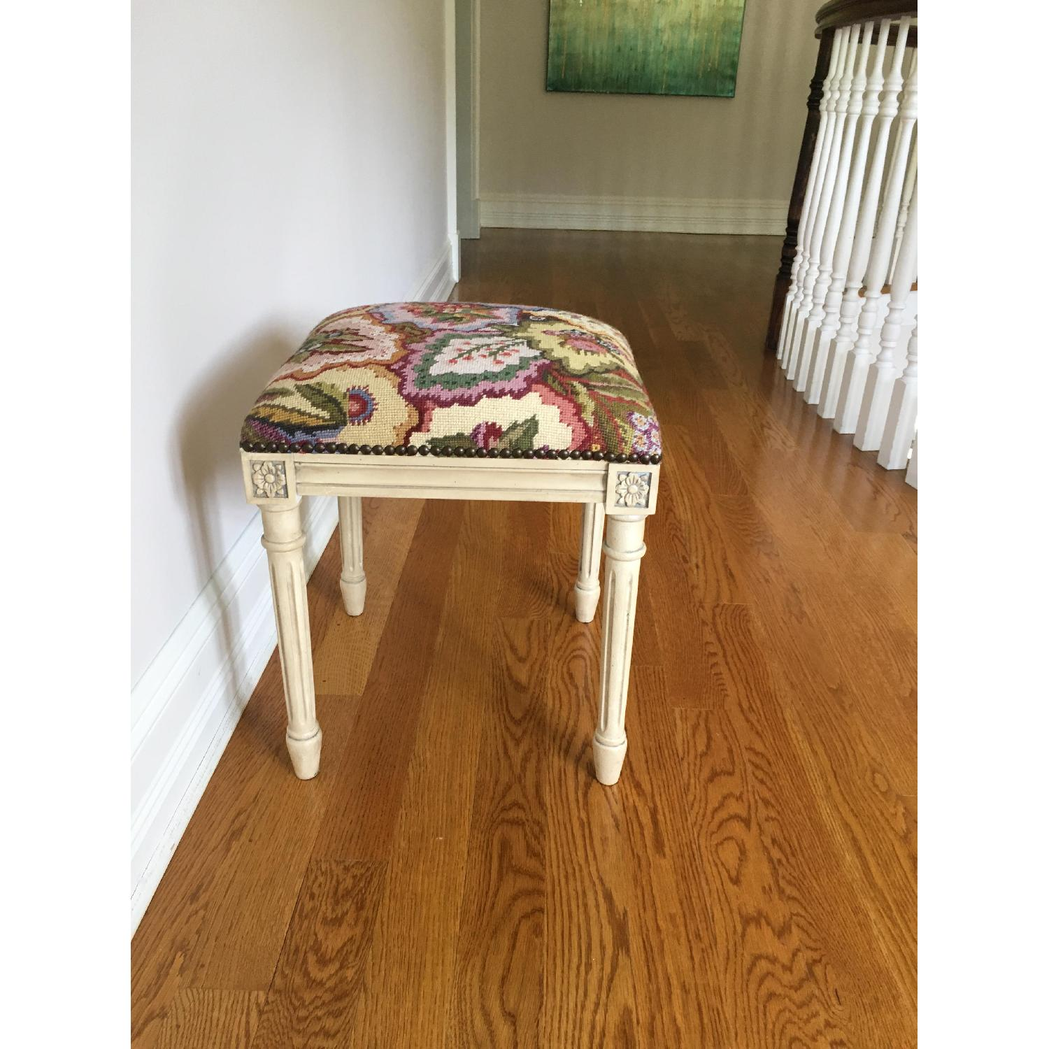 Hand Embroidered Accent Stool - image-2