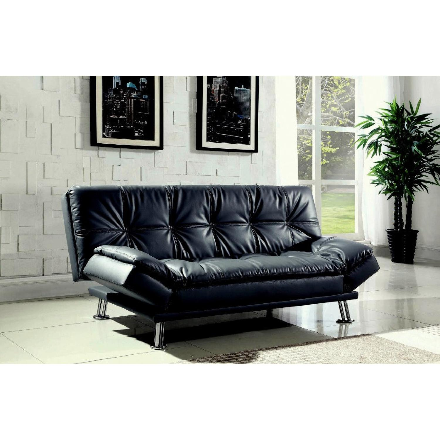 Coaster Contemporary Black Faux Leather Sofa Bed - image-1