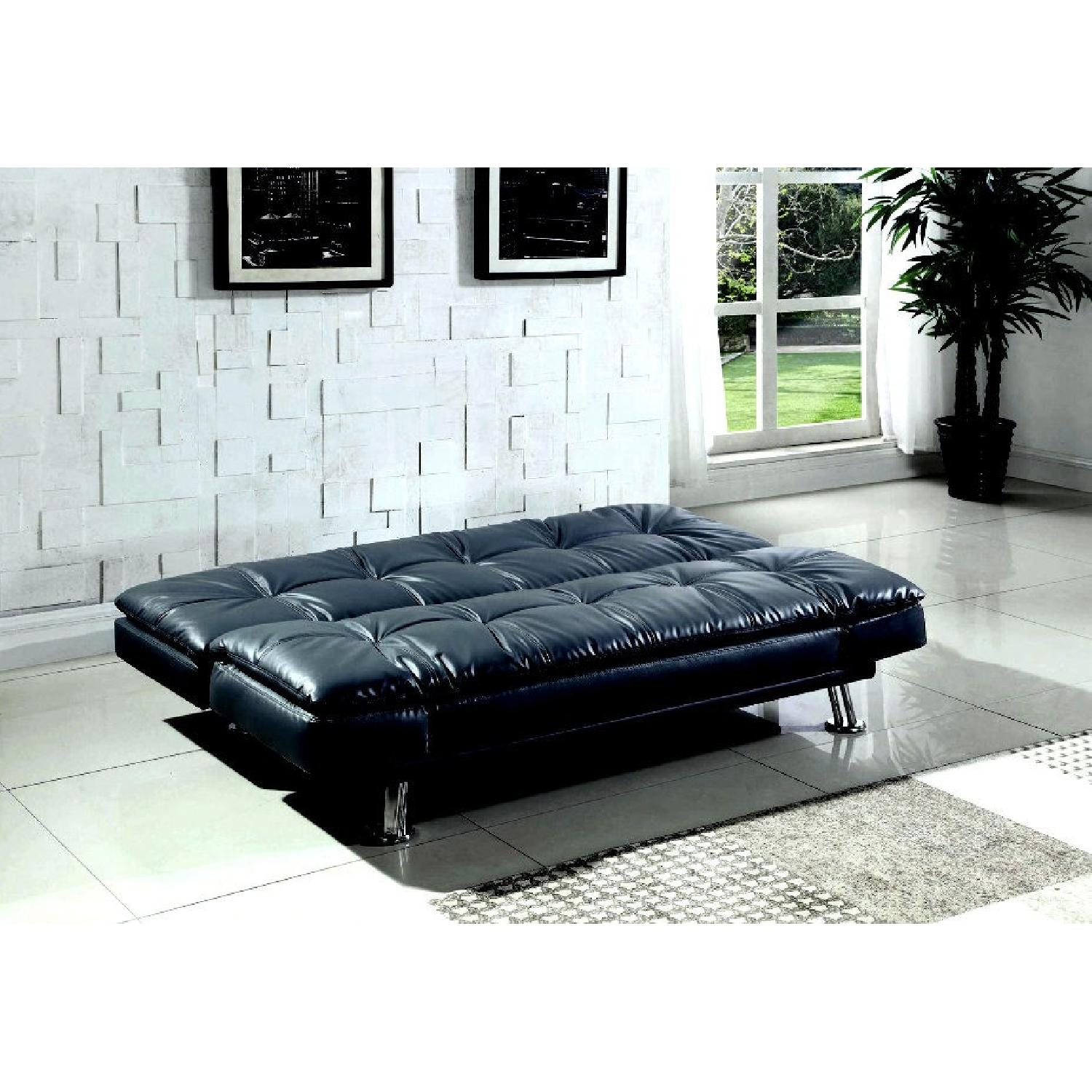 Coaster Contemporary Black Faux Leather Sofa Bed - image-2