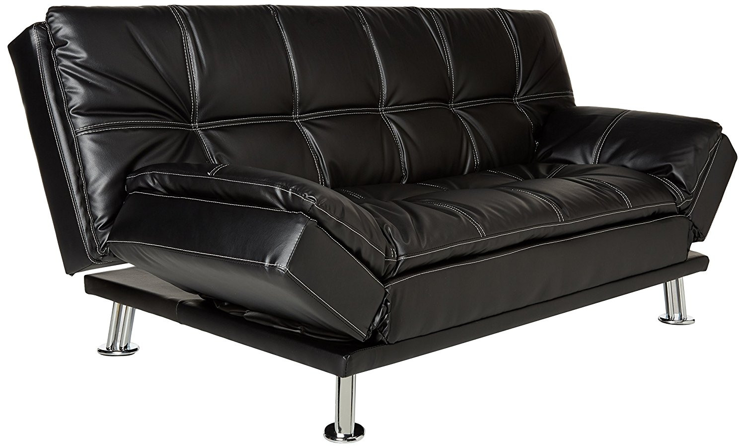 Coaster Contemporary Black Faux Leather Sofa Bed