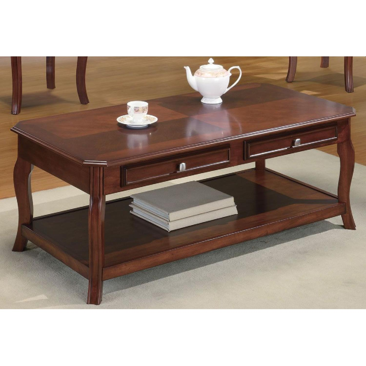 3-Piece Coffee & End Table Set in Warm Bourbon Finish - image-2