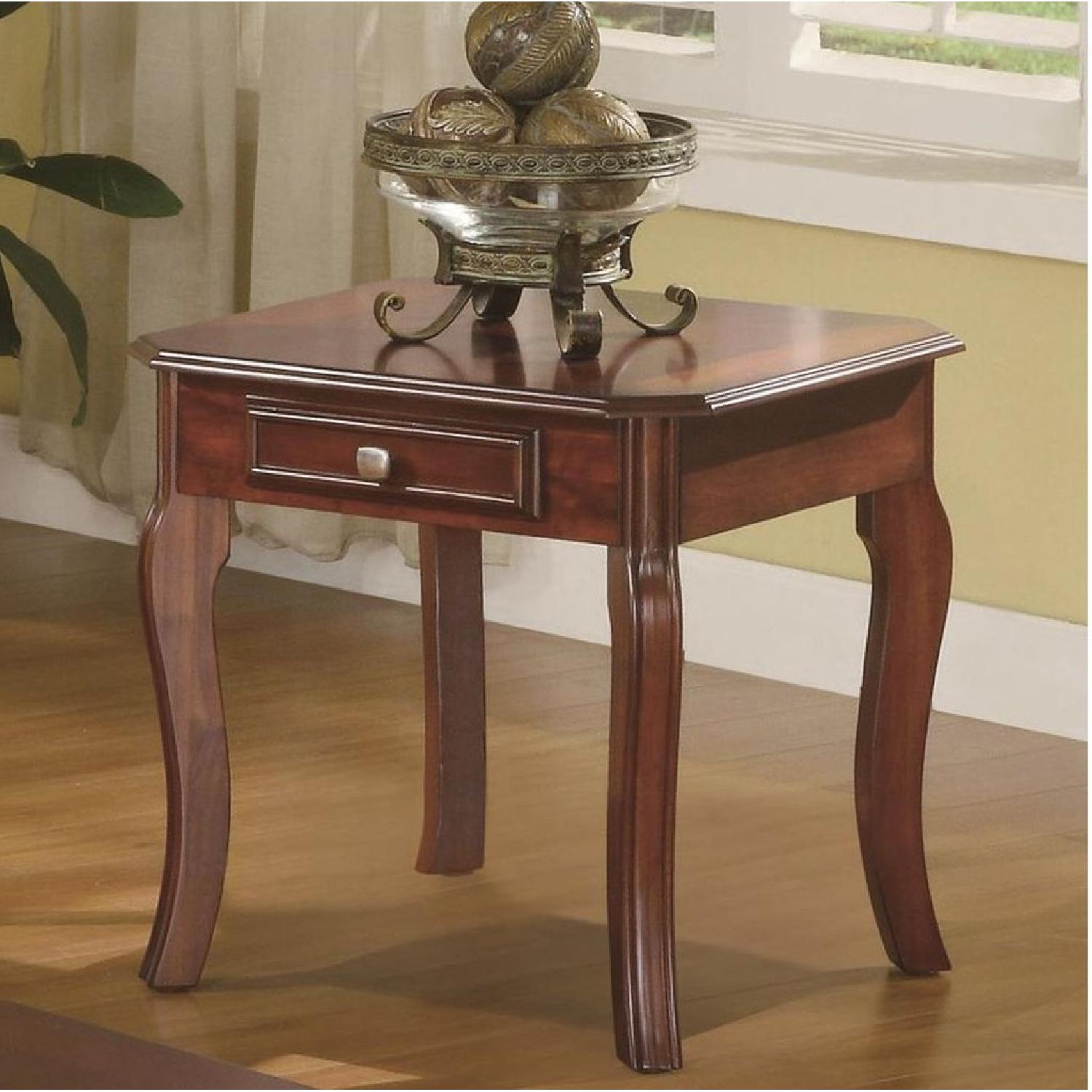 3-Piece Coffee & End Table Set in Warm Bourbon Finish - image-1