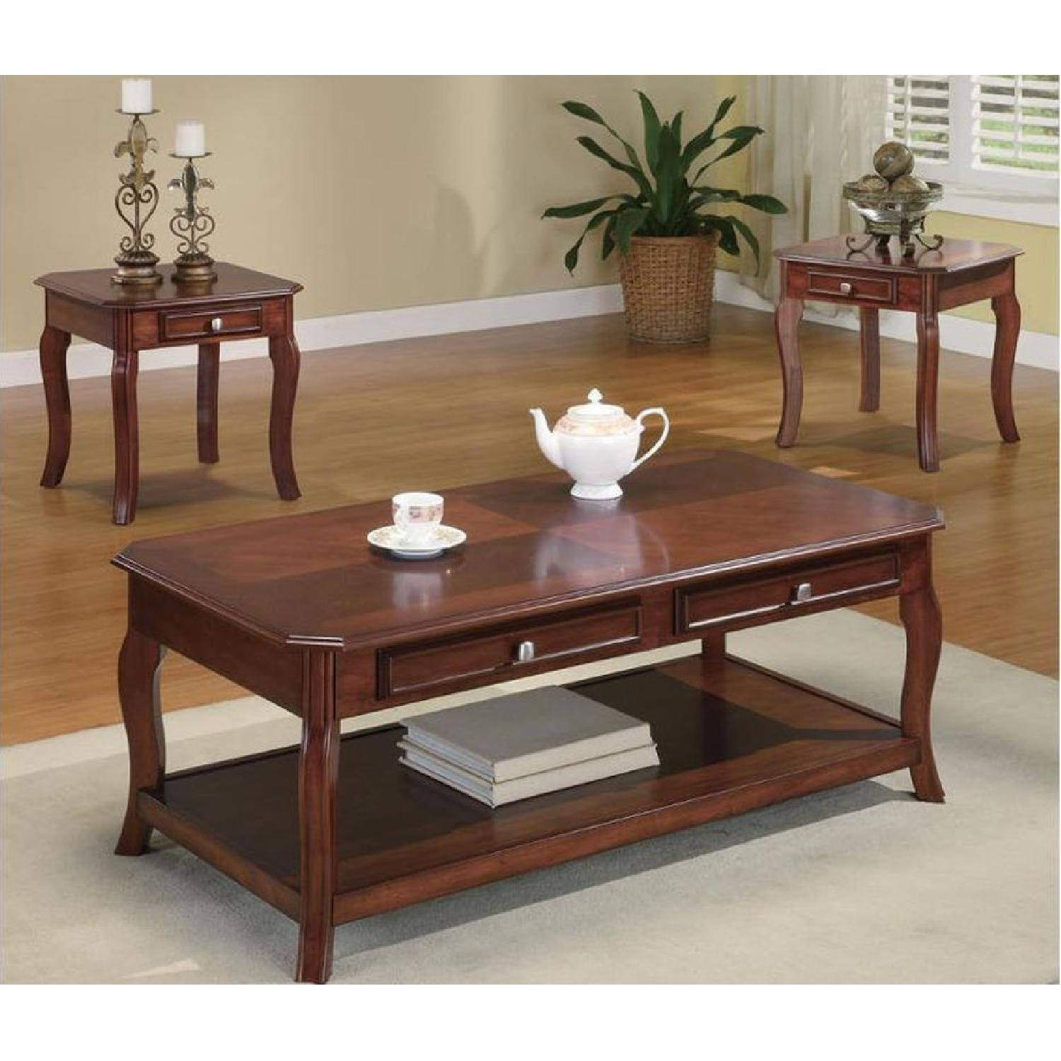 3-Piece Coffee & End Table Set in Warm Bourbon Finish - image-3