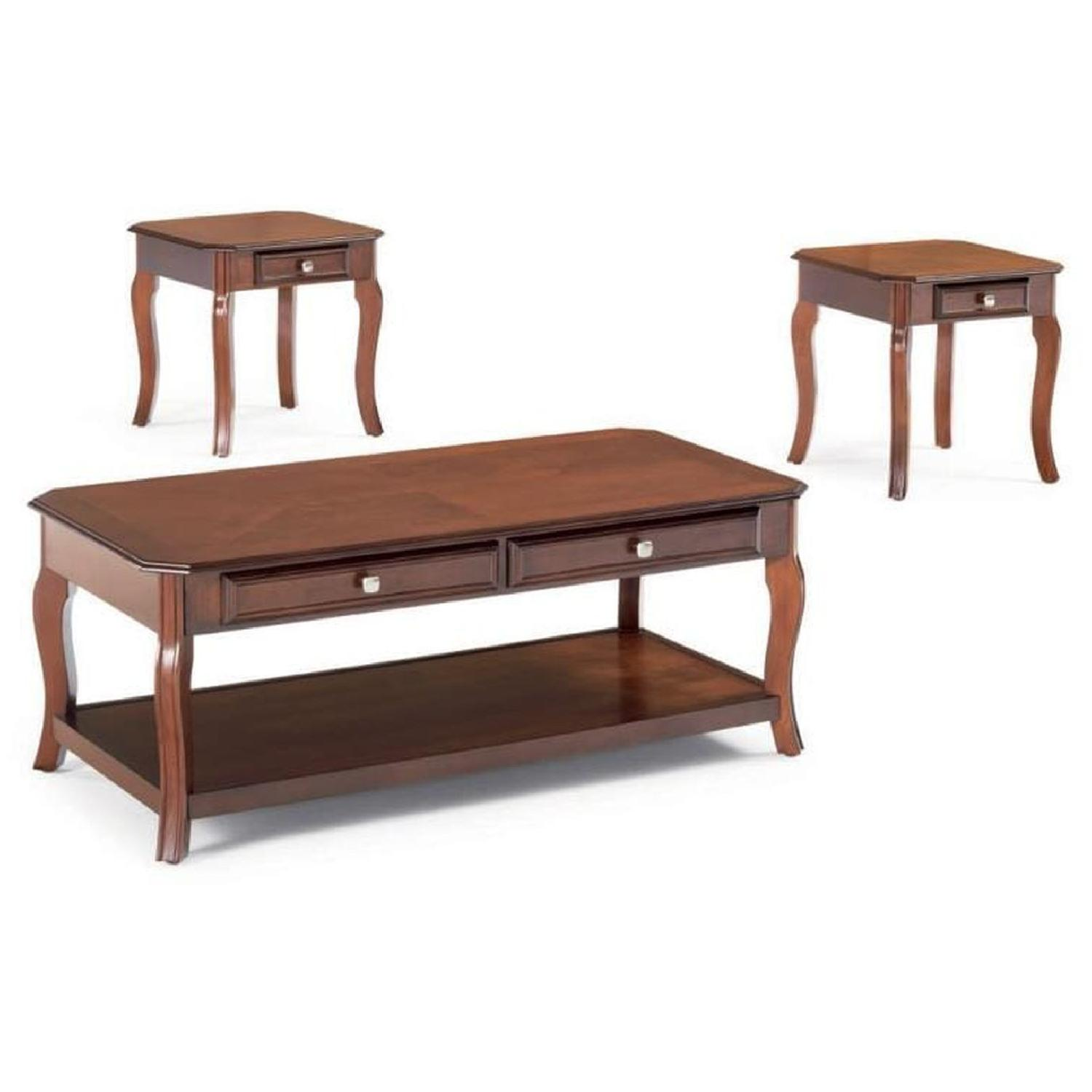 3-Piece Coffee & End Table Set in Warm Bourbon Finish - image-0