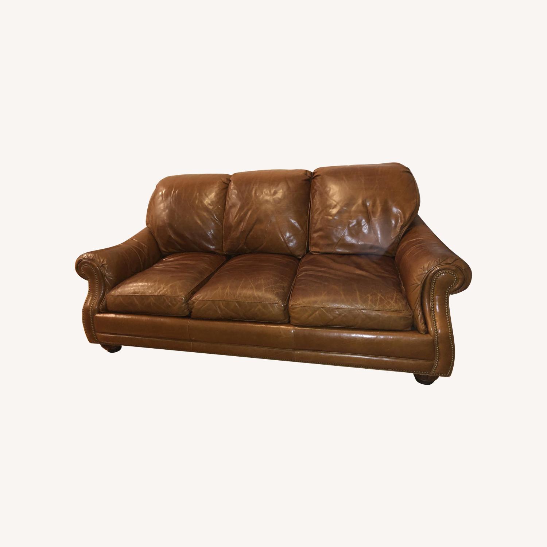 Hancock & Moore Brown Leather Sofa & Ottoman