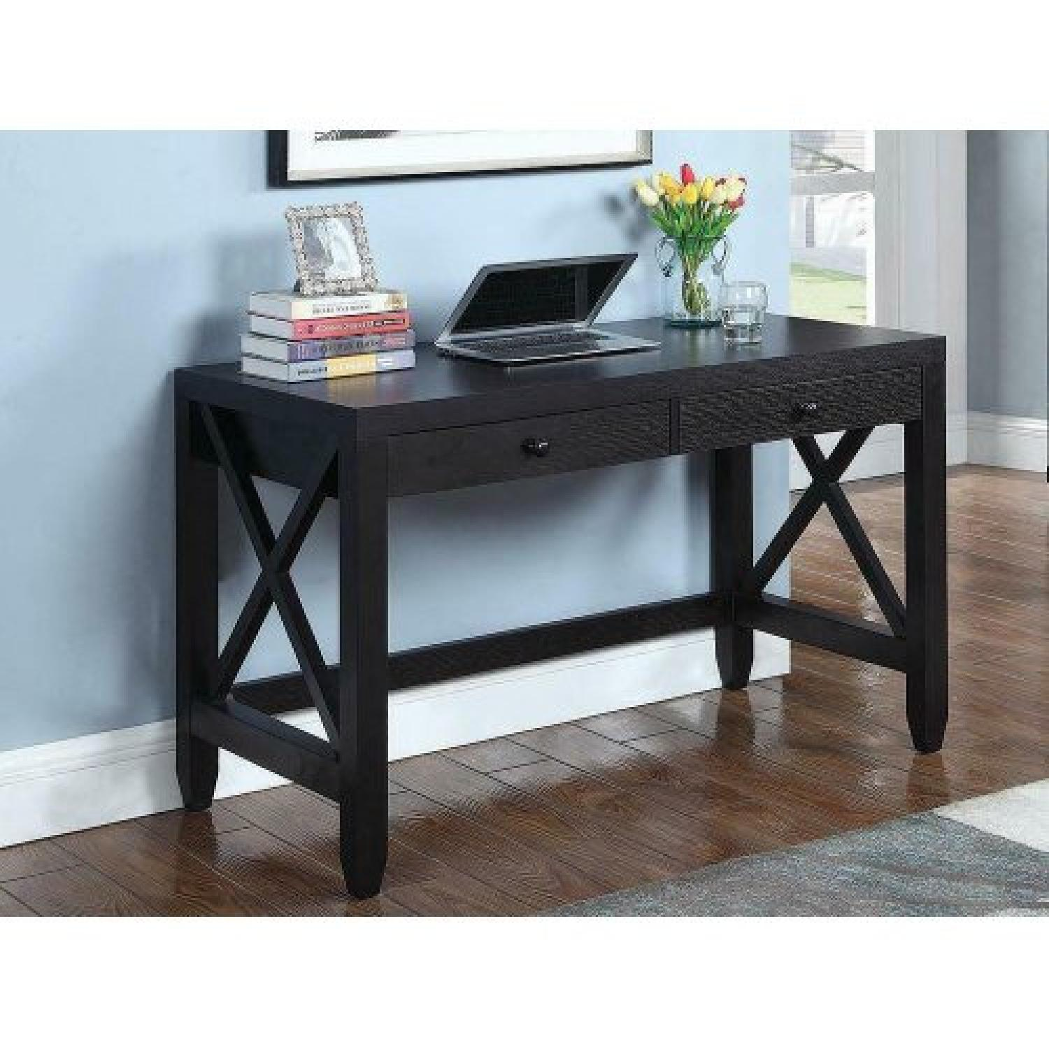 Cappuccino Writing Desk w/ X Detail - image-5