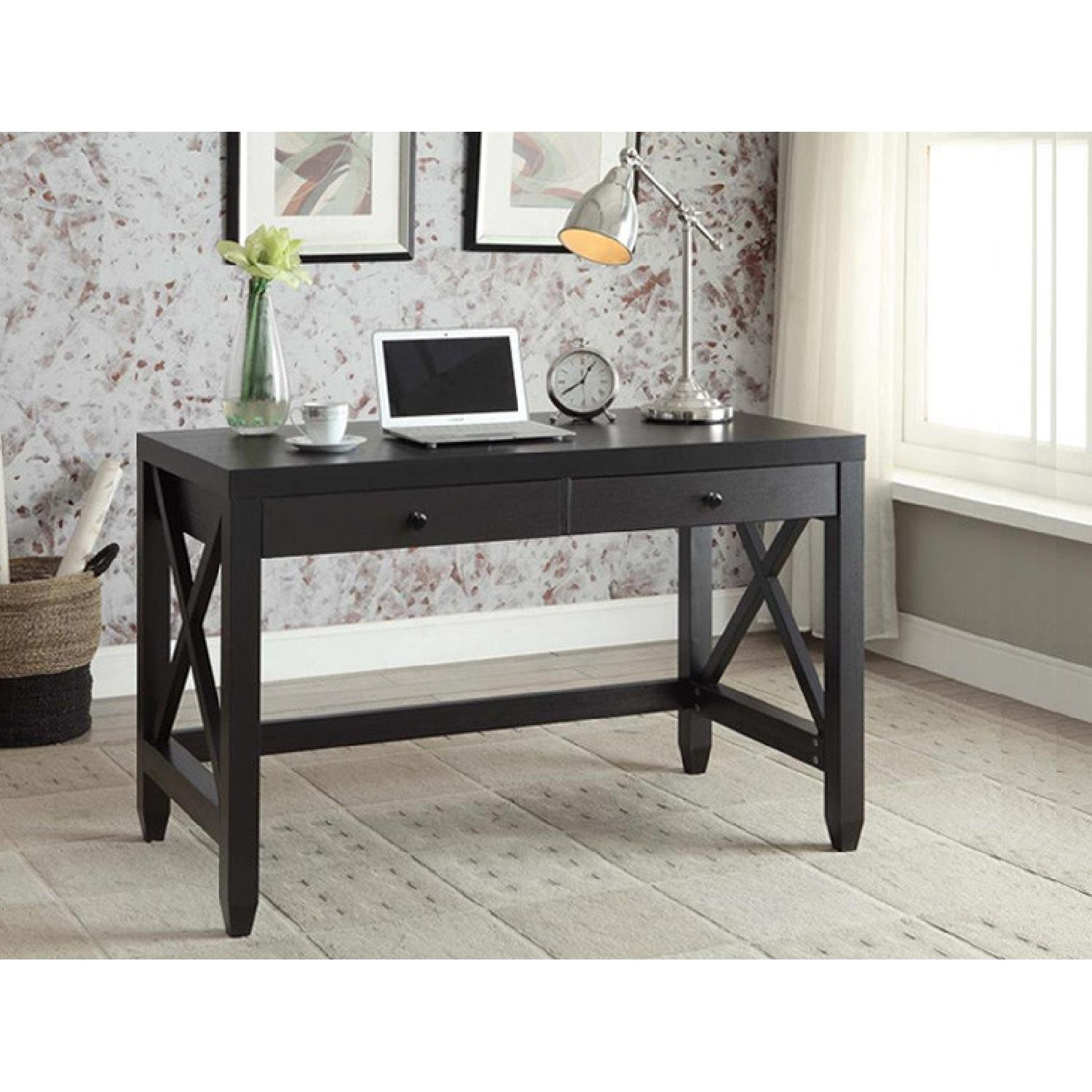 Cappuccino Writing Desk w/ X Detail - image-3