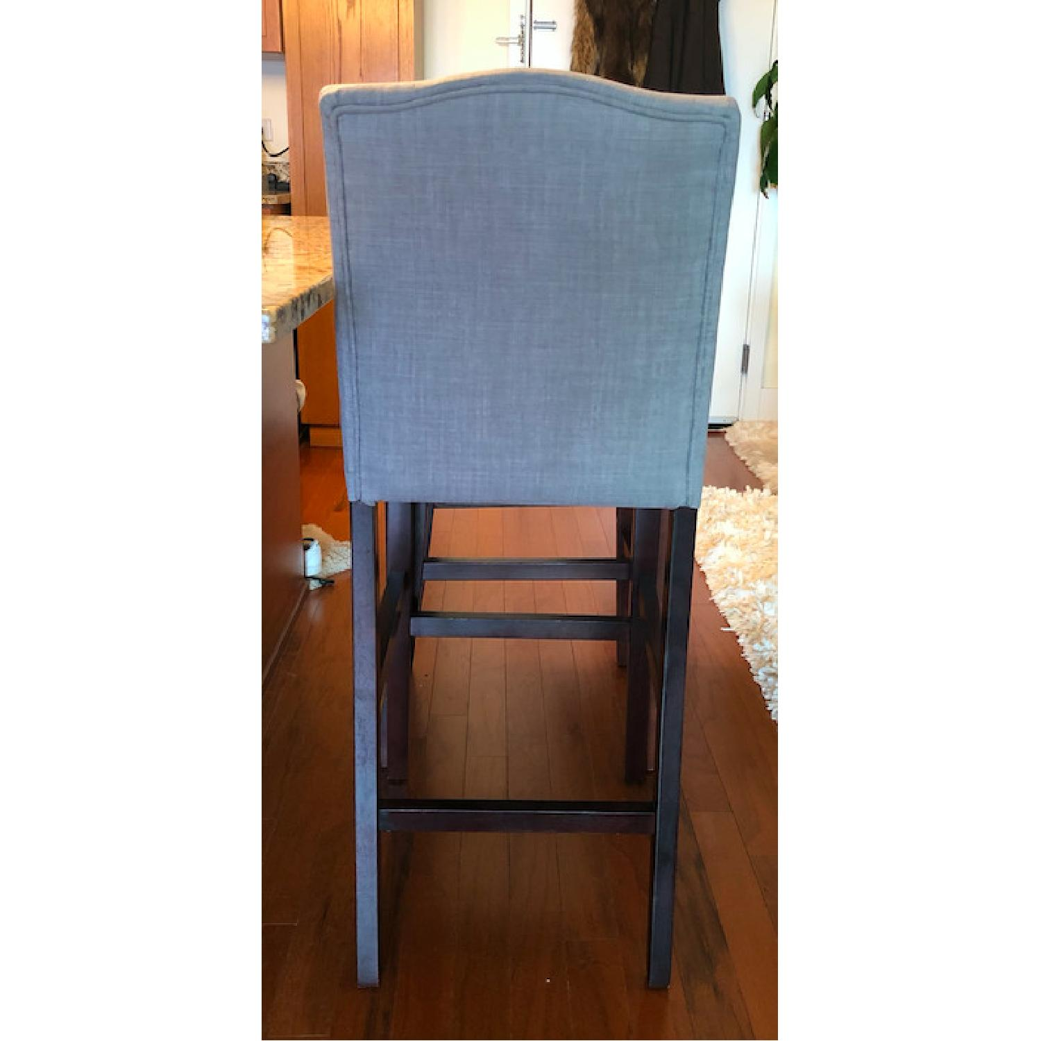 Skyline Furniture Gray Linen Upholstered Nail Button Stools - image-1