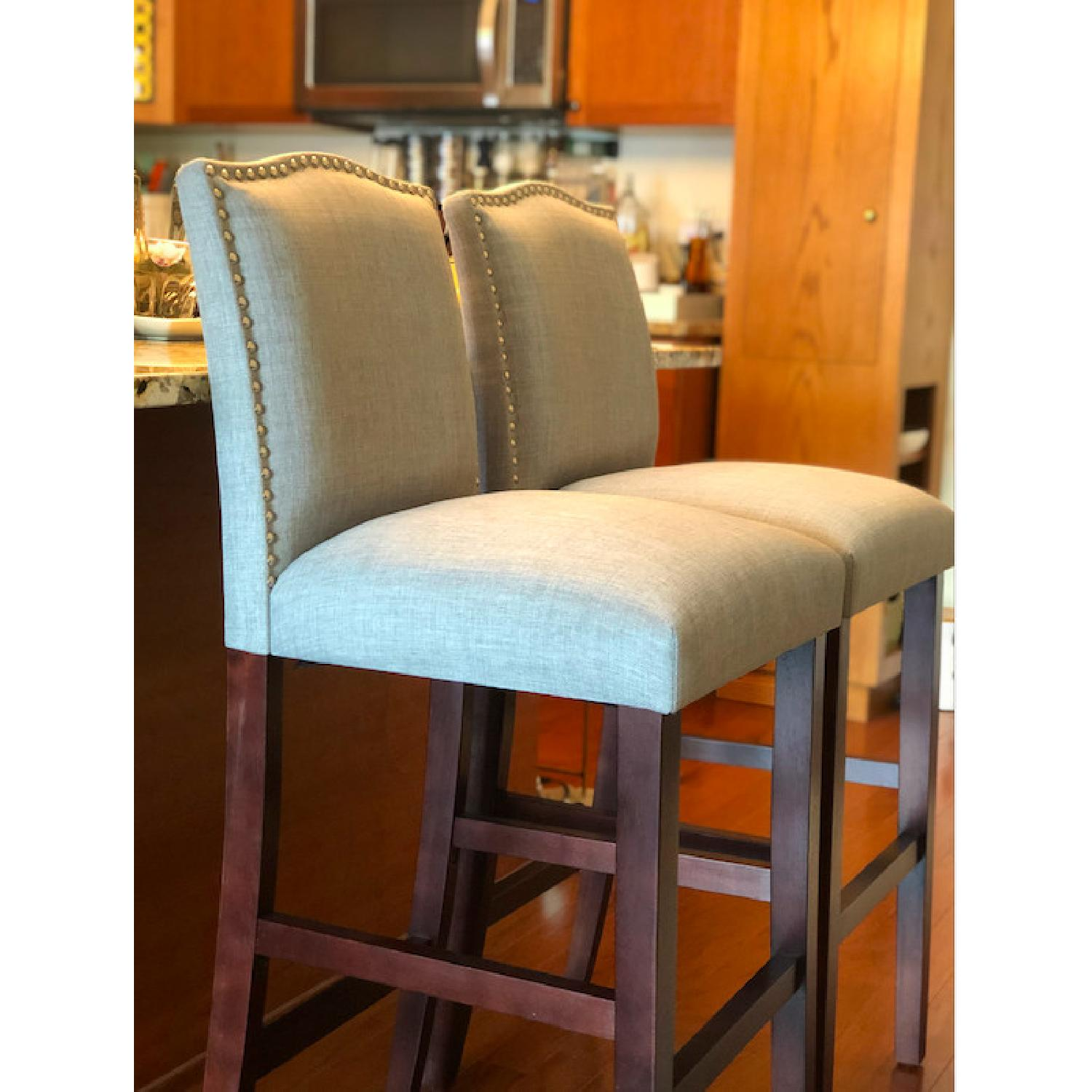 Skyline Furniture Gray Linen Upholstered Nail Button Stools - image-3